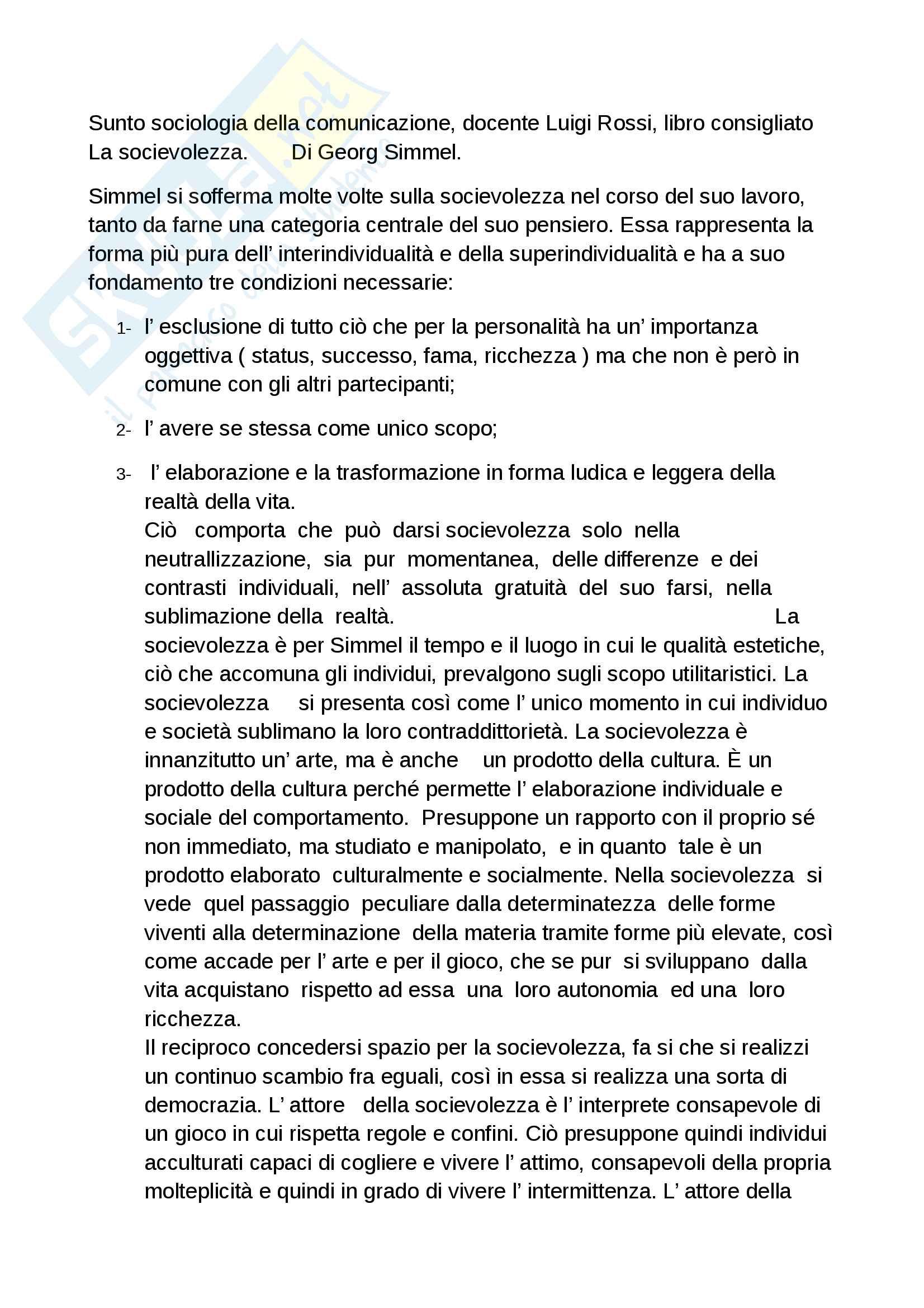 Riassunto esame sociologia della comunicazione, docente Rossi, libro consigliato La socievolezza di Simmel