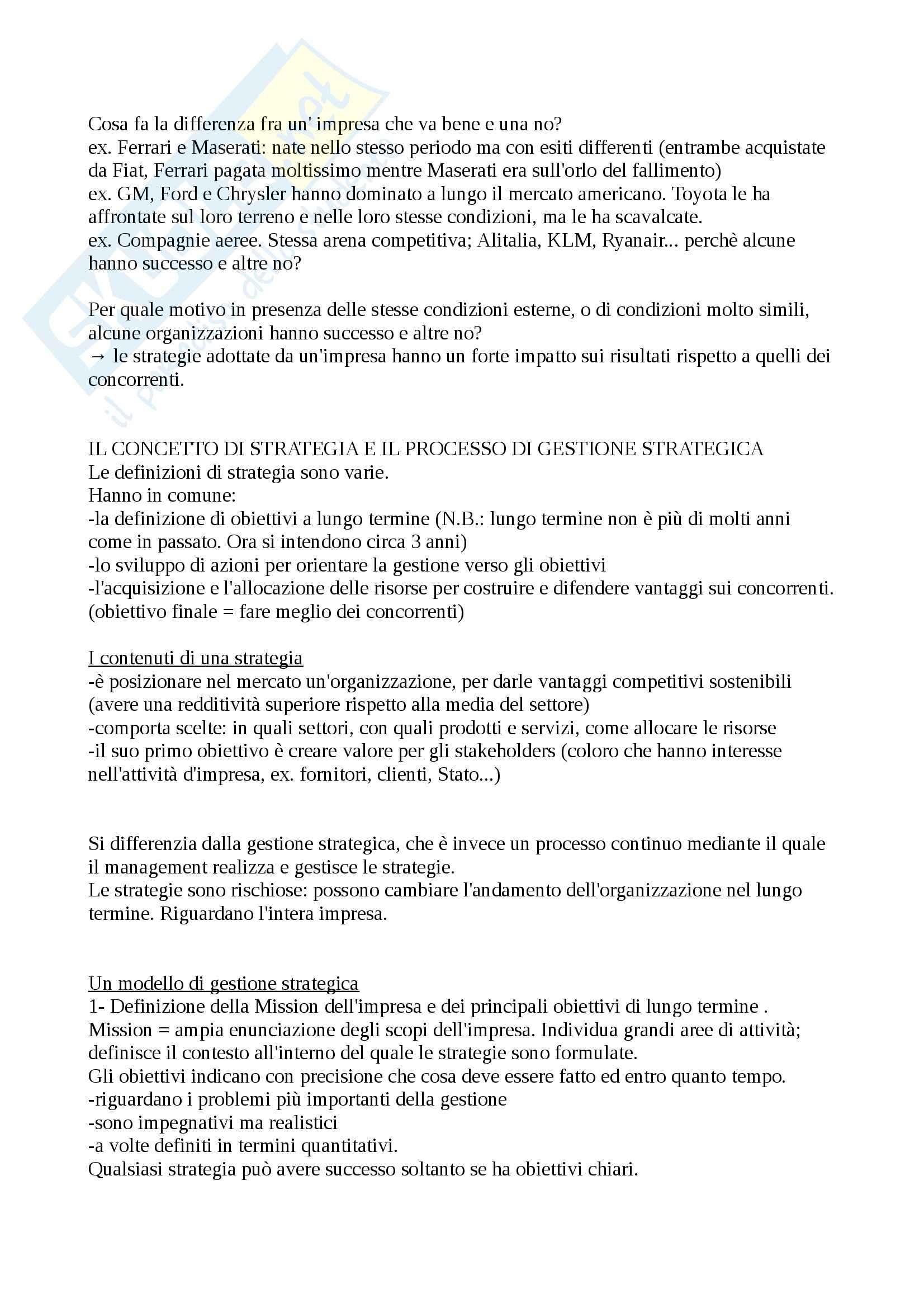 Strategie di impresa - Appunti Pag. 2