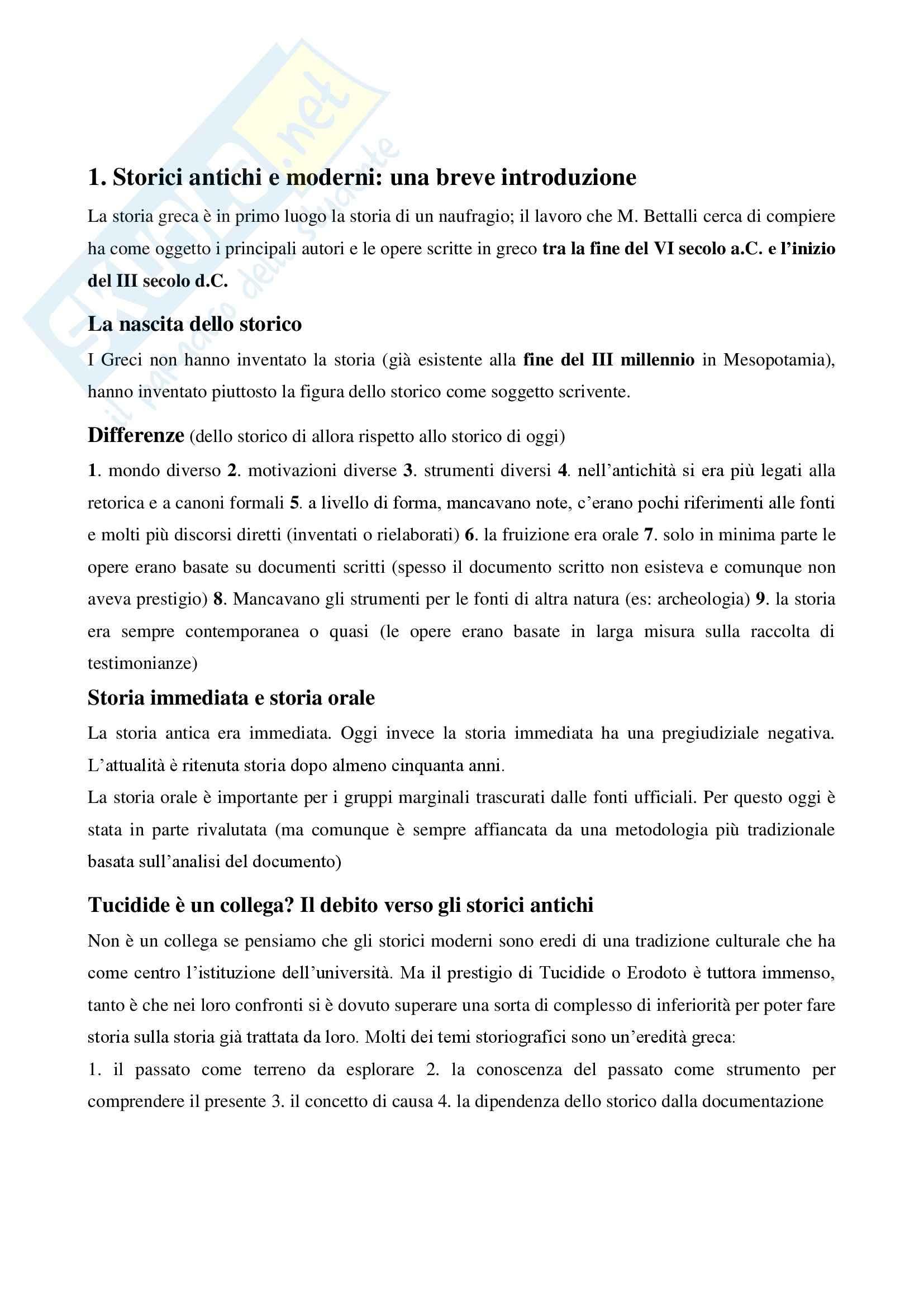 Riassunto esame storia greca, prof. Antonetti, libro consigliato Introduzione alla storiografia greca, Marco Bettalli