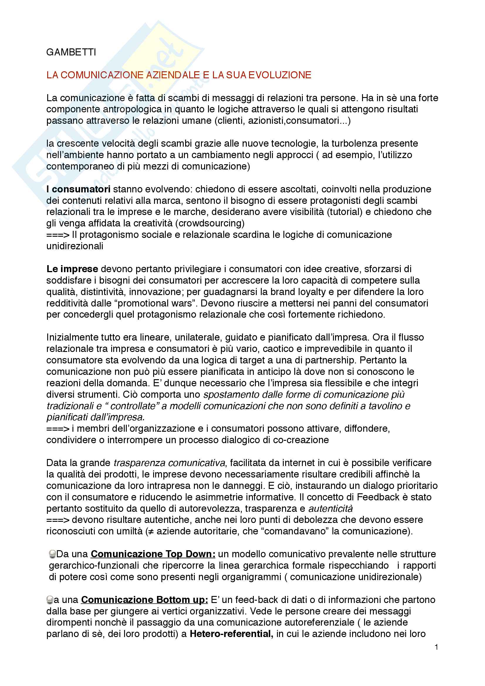 Economia e tecnica della Comunicazione aziendale: appunti del corso
