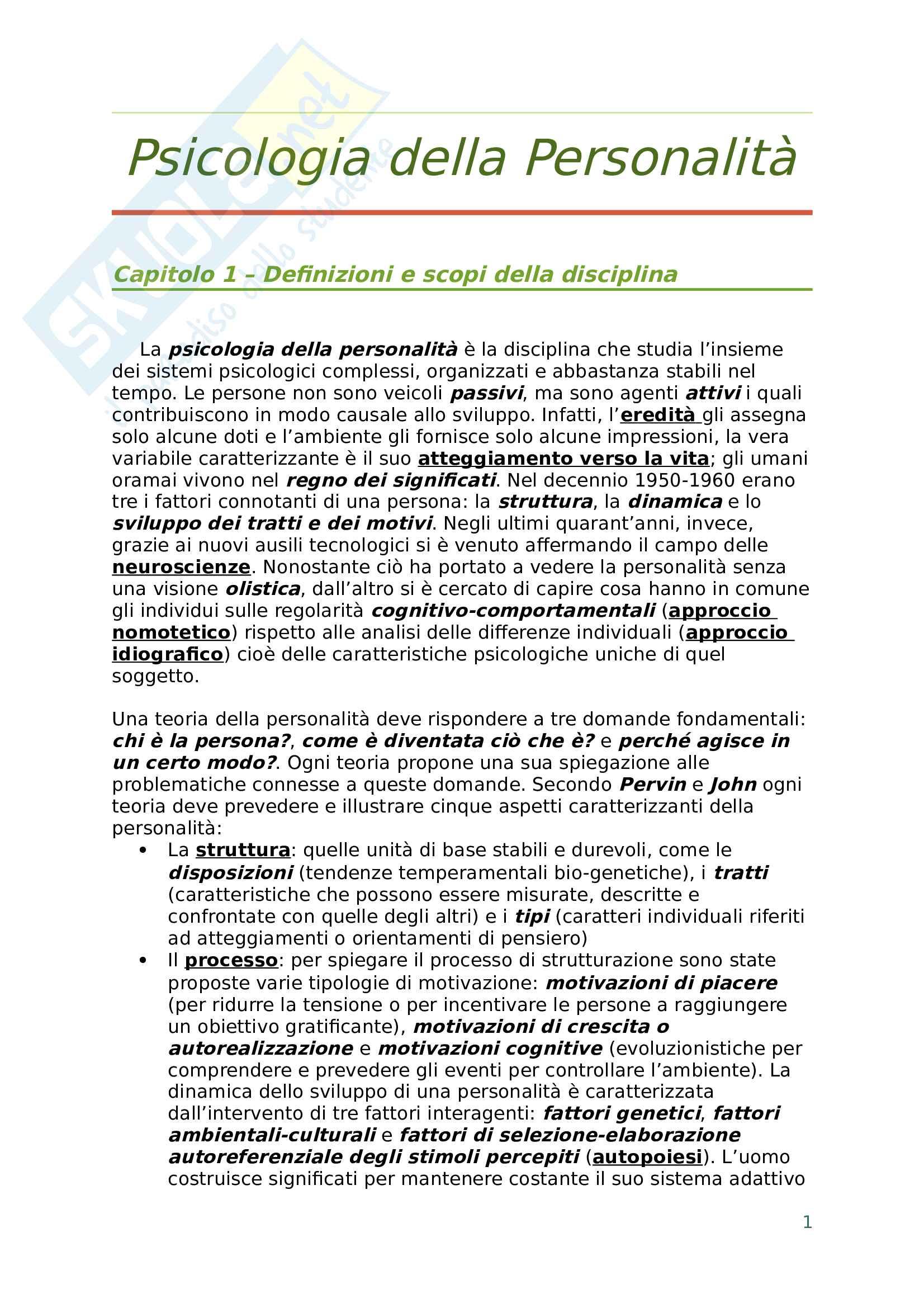 Riassunto esame psicologia della personalità, prof. Varriale, libro consigliato Psicologia della Personalità: teorie e applicazioni in una prospettiva di integrazione dinamico-costruttivistica adleriana, socio-cognitiva ed evoluzionistica, Varriale
