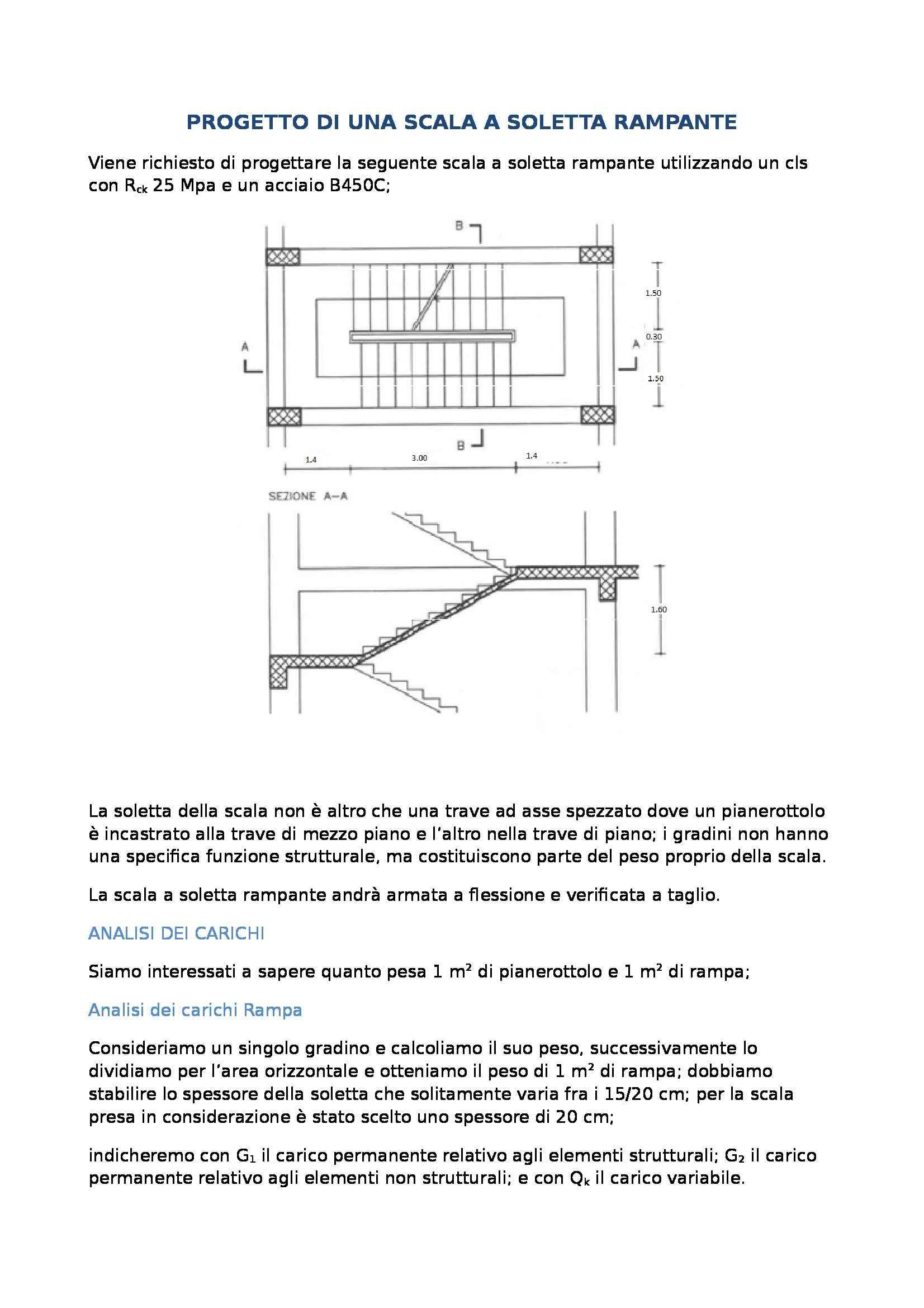Tecnica delle costruzioni - progetto di una scala a soletta rampante