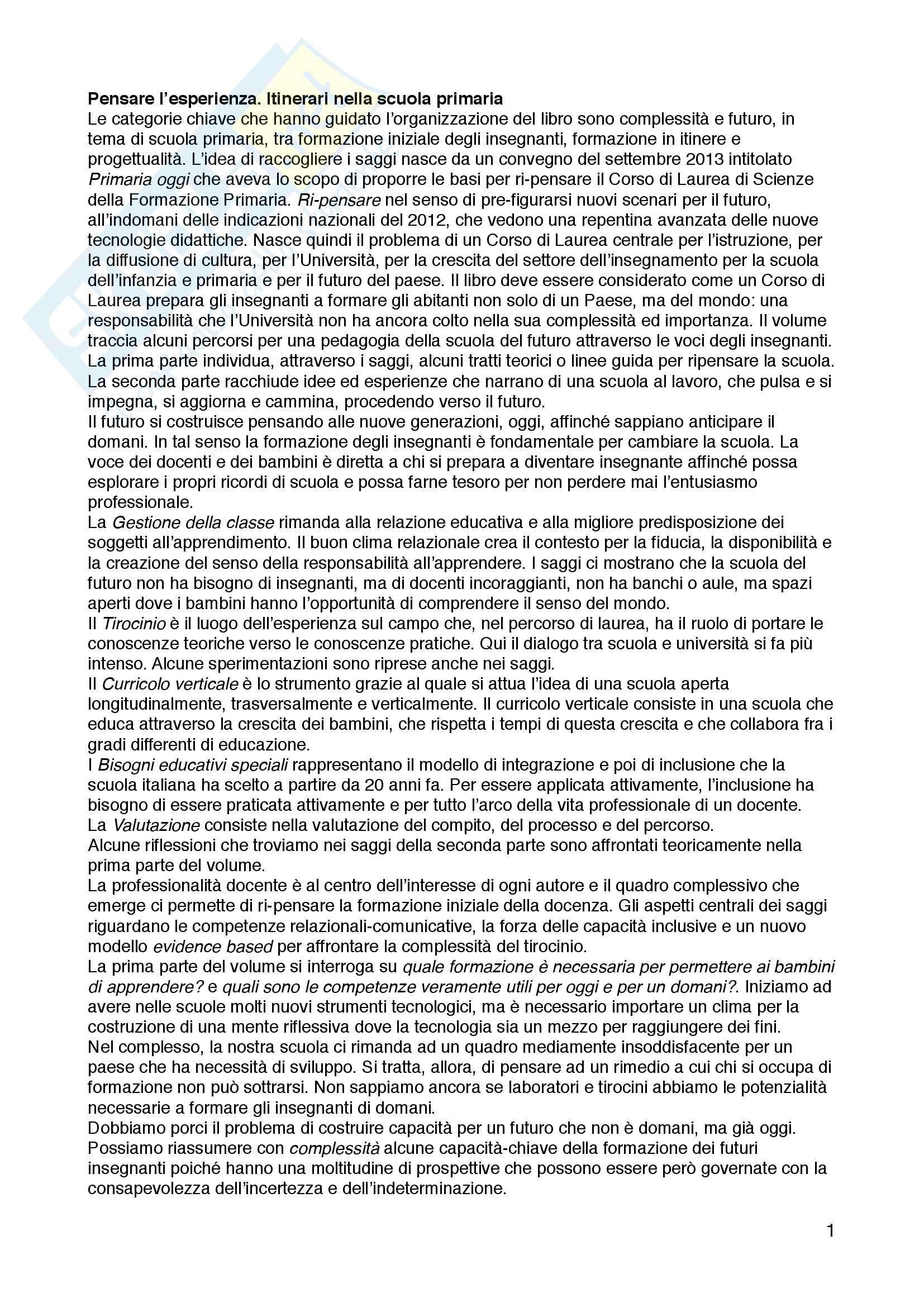 """Riassunto esame pedagogia generale, prof. Vanna Boffo, Paolo Federighi, libro consigliato """"Primaria oggi - Complessità e professionalità docente"""", Vanna Boffo, Paolo Federighi"""