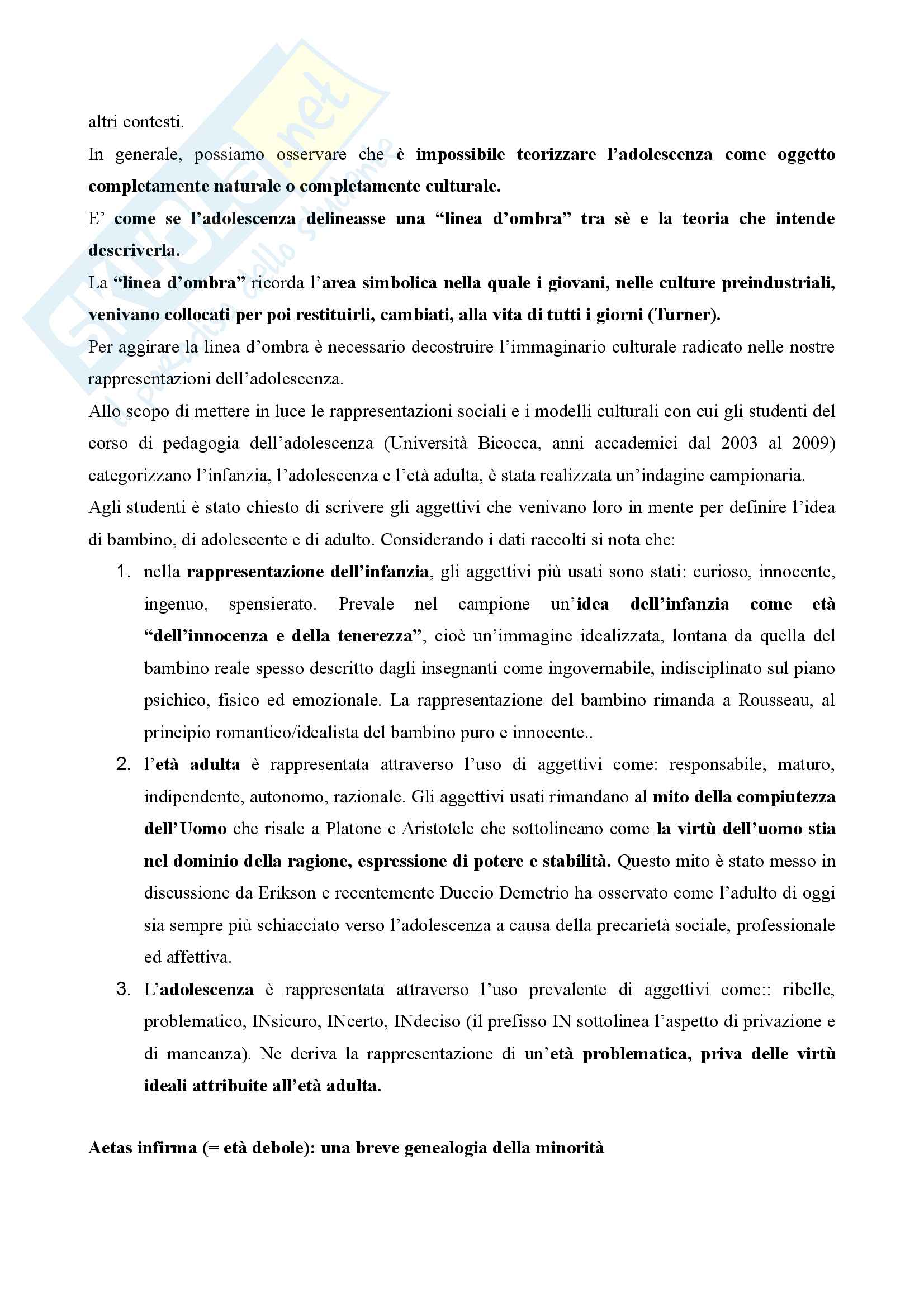 Riassunto esame Pedagogia dell'adolescenza, prof. Barone, libro consigliato Pedagogia dell'adolescenza, Pierangelo Barone Pag. 2