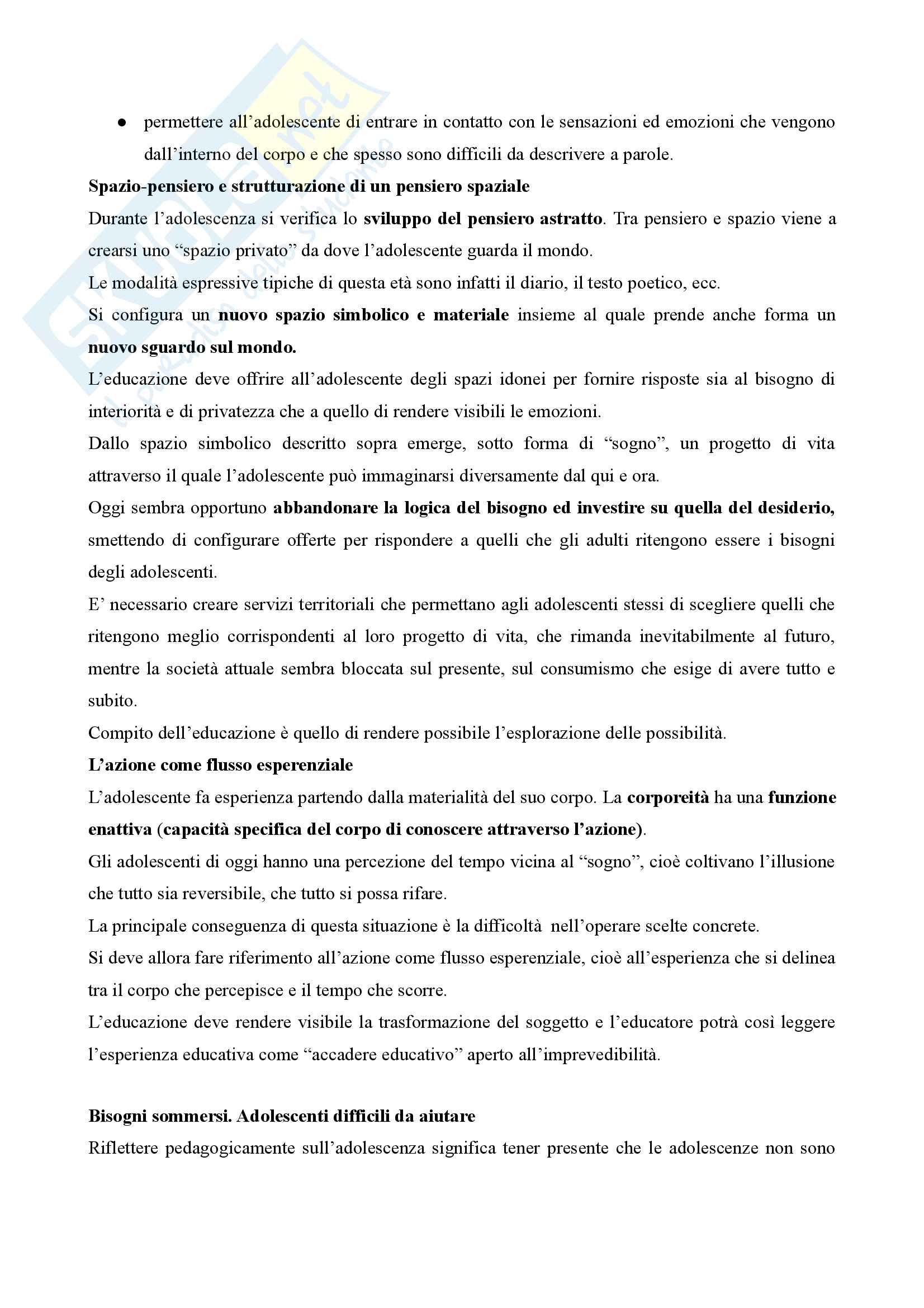 Riassunto esame Pedagogia dell'adolescenza, prof. Barone, libro consigliato Pedagogia dell'adolescenza, Pierangelo Barone Pag. 6