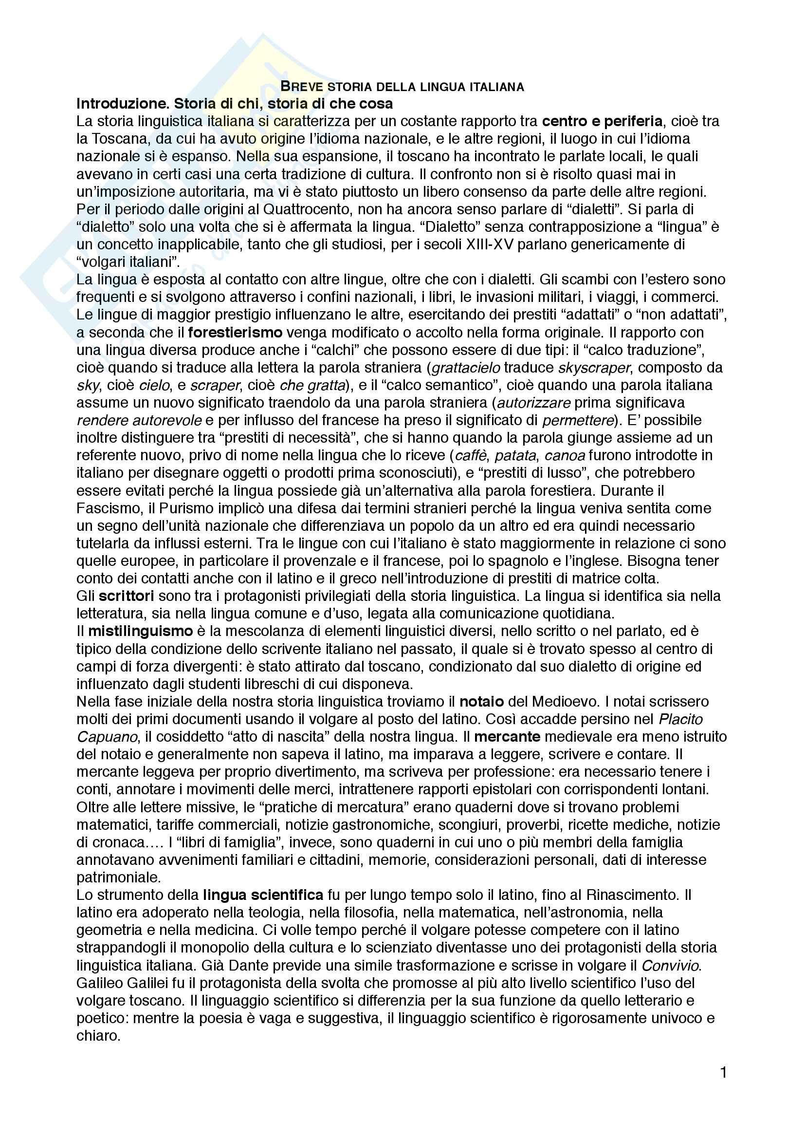 """Riassunto esame Linguistica italiana, prof.ssa Raffaella Setti, libro consigliato """"Breve storia della lingua italiana"""", Marazzini Claudio"""