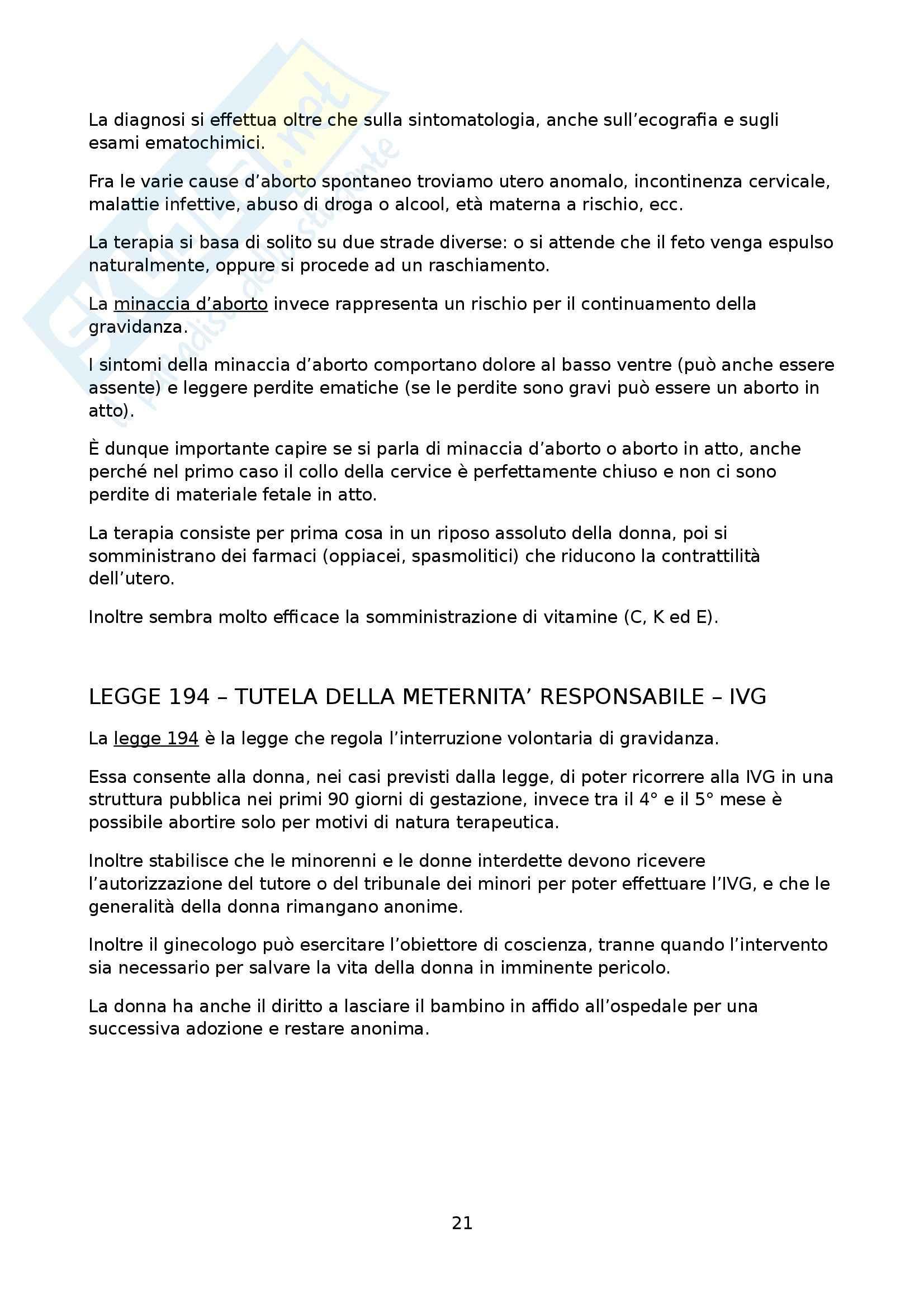 Medicina materno-infantile - Ginecologia ed ostetricia Pag. 21