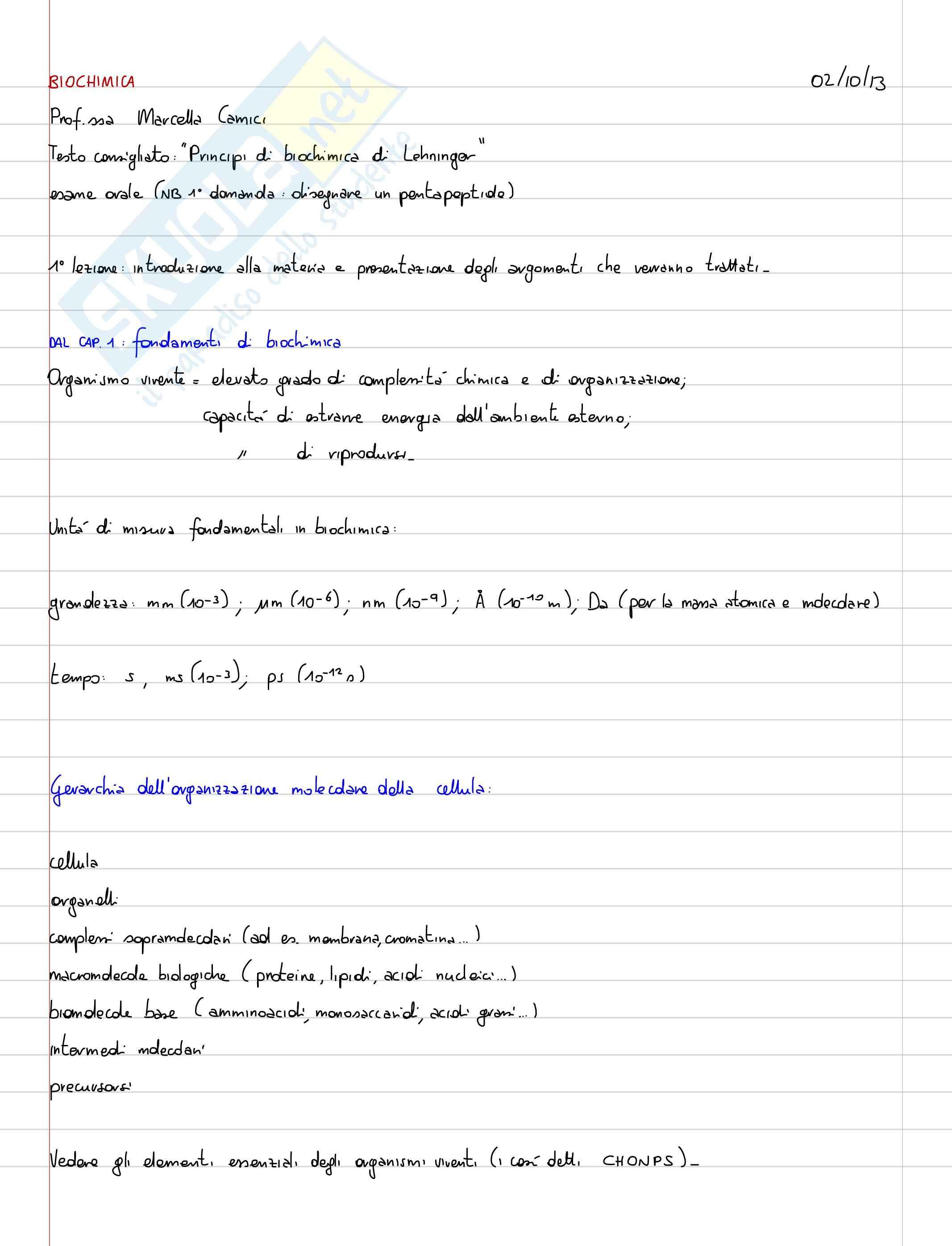 Lezioni, Biochimica