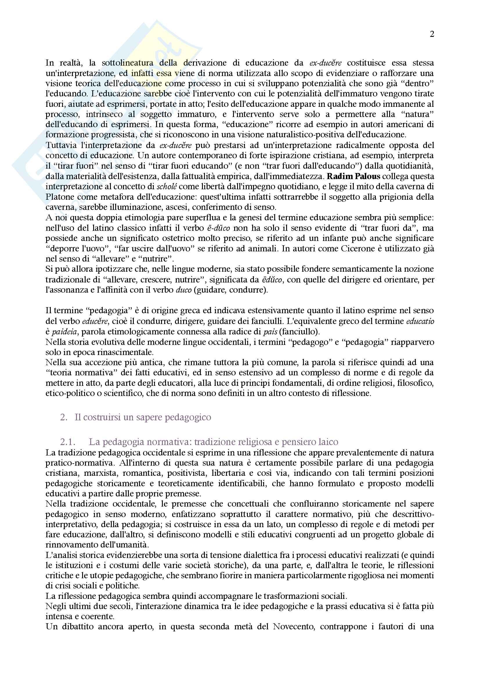 """Riassunto esame Pedagogia generale (1), docente M. T. Moscato, libro consigliato """"Il viaggio come metafora pedagogica"""", di M. T. Moscato Pag. 2"""
