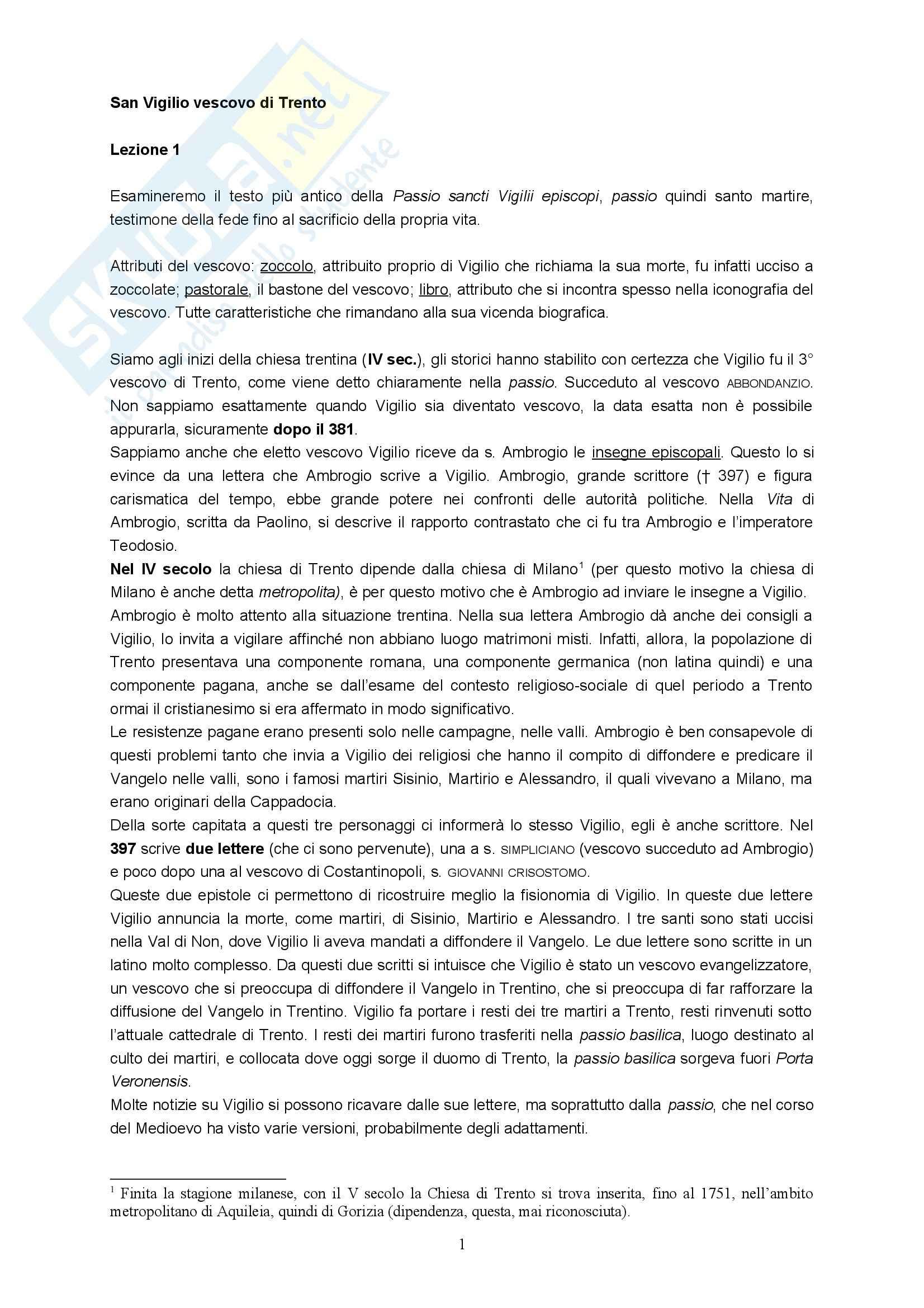 Agiografia - San Vigilio vescovo di Trento