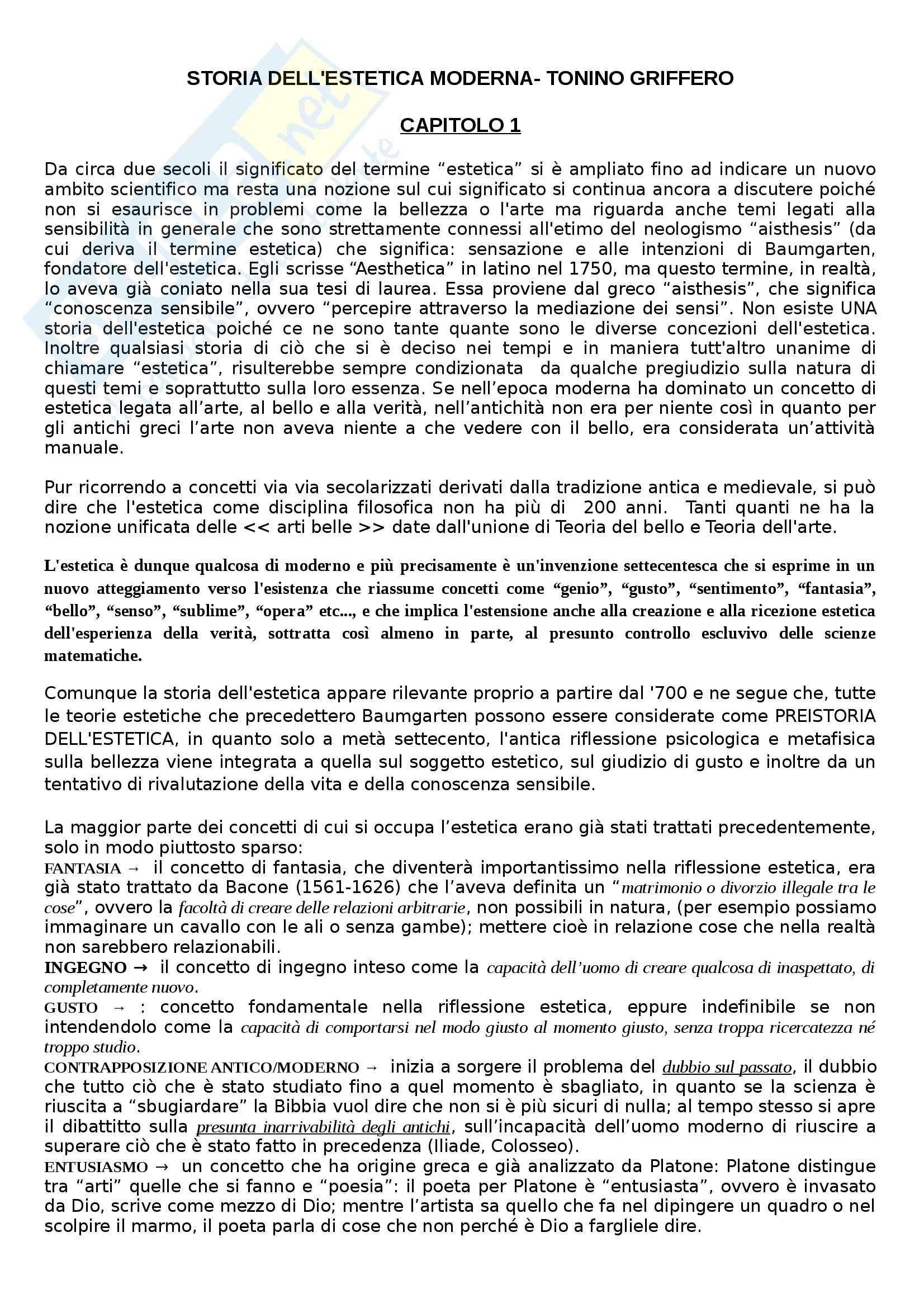 Riassunto esame Estetica, prof. Griffero, libro consigliato Storia dell'estetica, Griffero