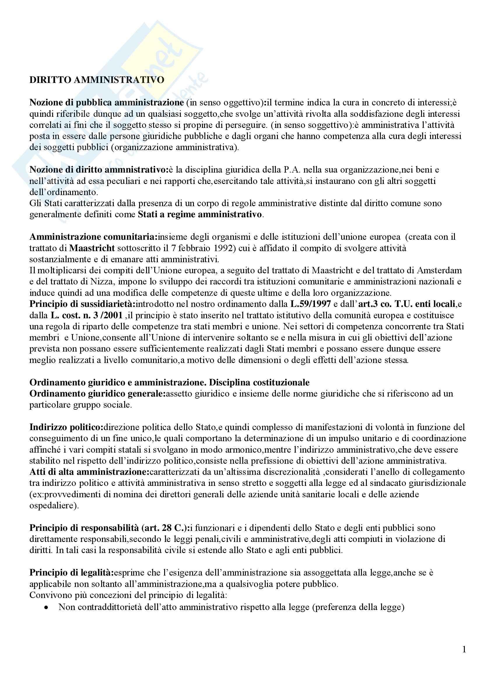 Diritto amministrativo - Riassunto esame, prof. Sandulli