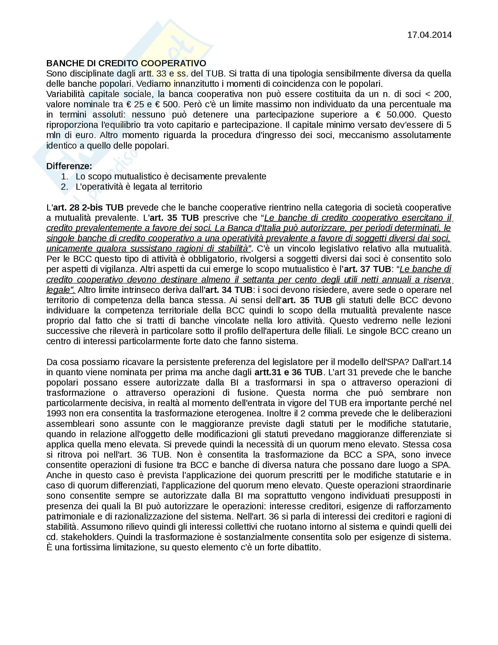 Diritto bancario - Banche di Credito Cooperativo e Gruppo Bancario
