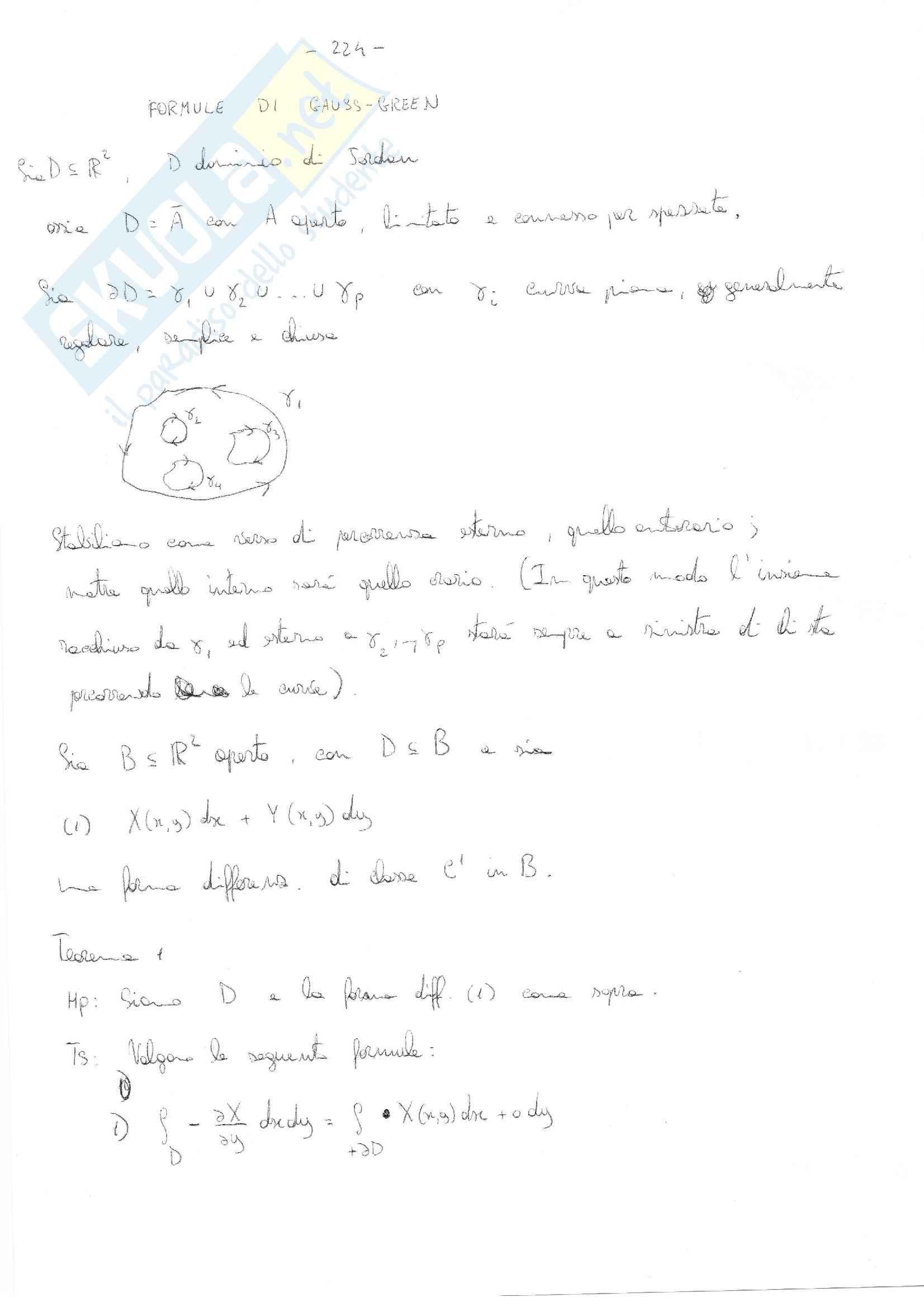 Analisi matematica 2 - le formule di Gauss-Green