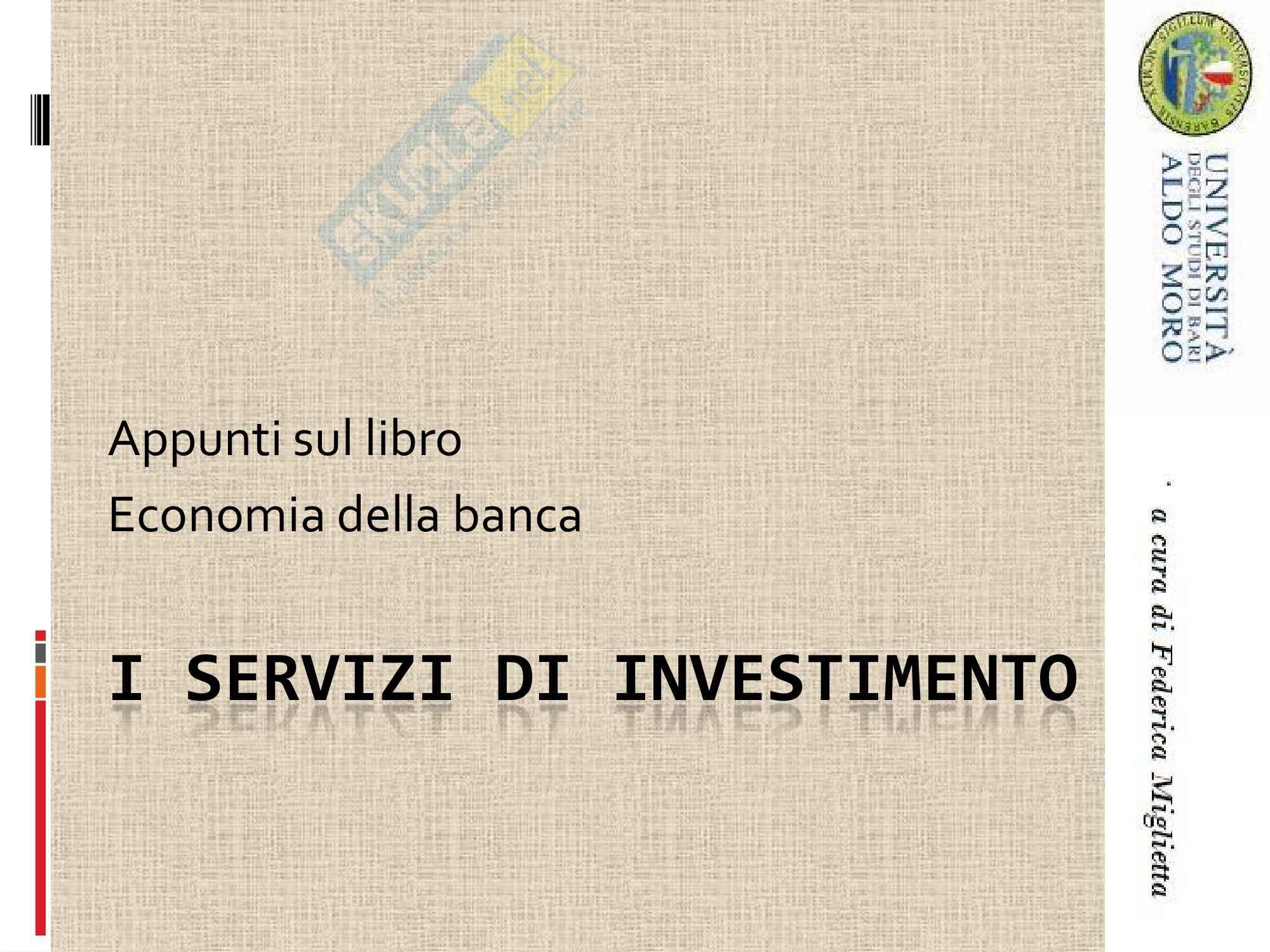Economia degli intermediari finanziari - servizi investimento