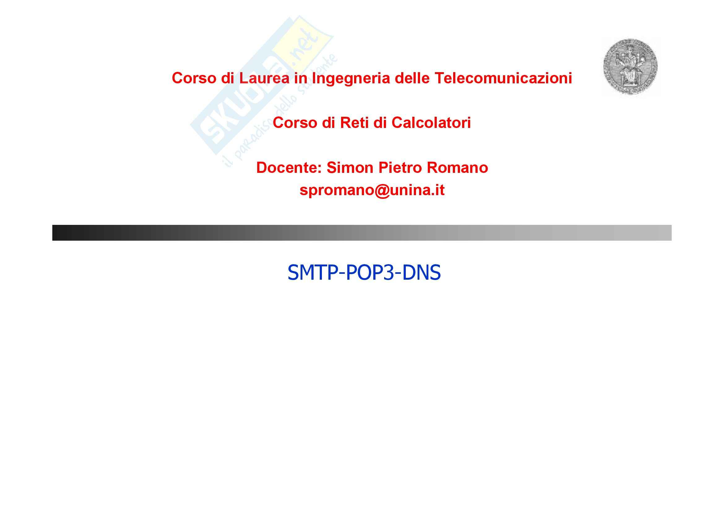 Reti di Calcolatori – SMTP, POP3, DNS