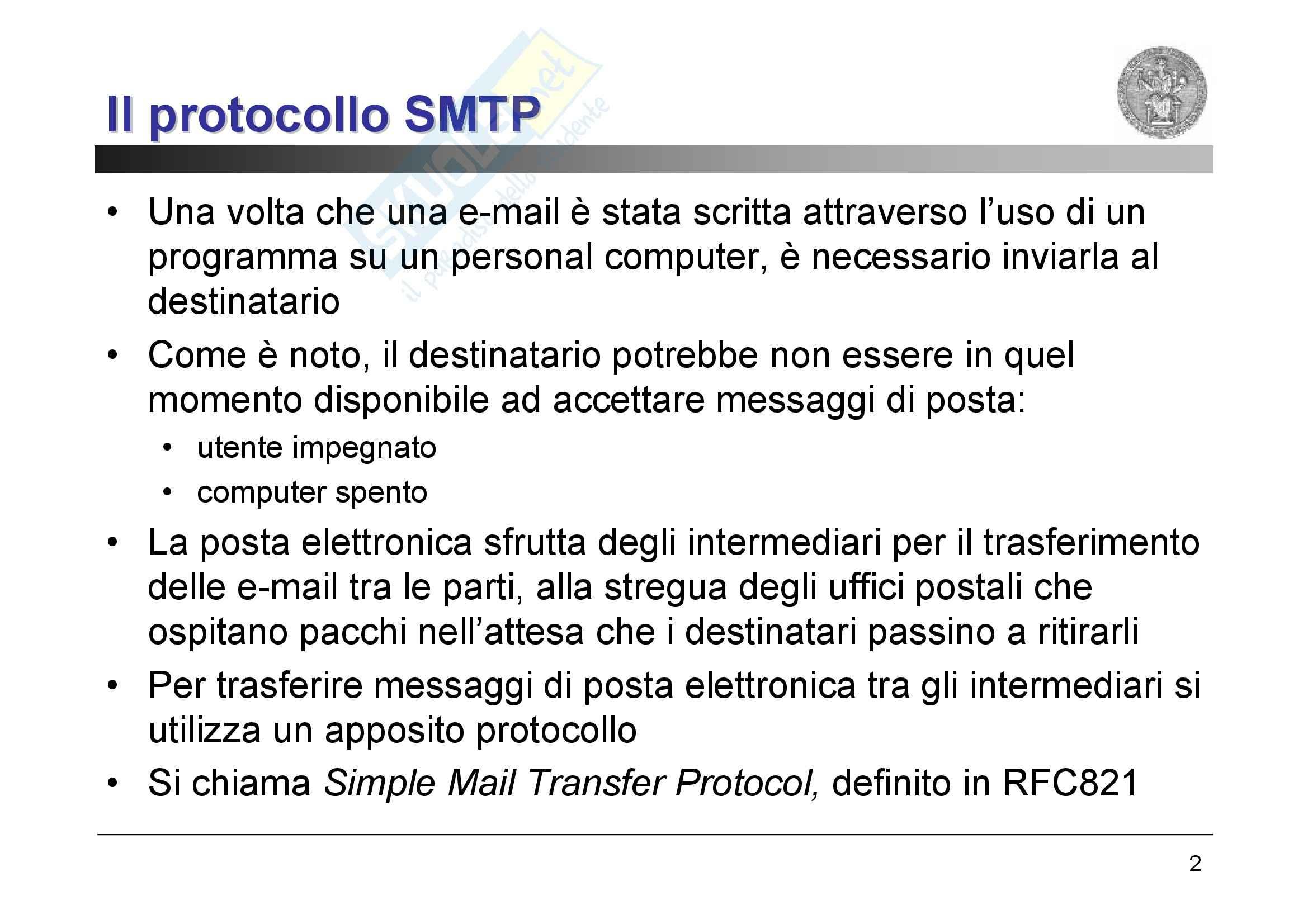 Reti di Calcolatori – SMTP, POP3, DNS Pag. 2