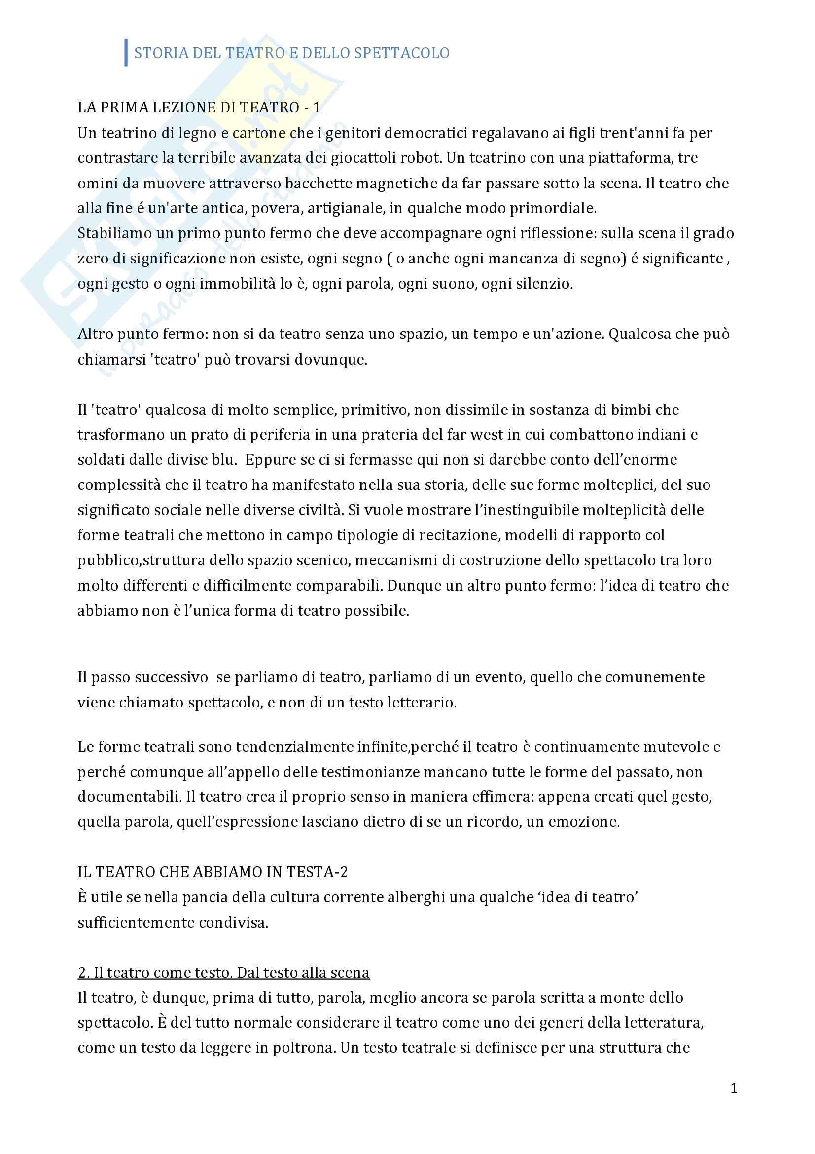 Riassunto esame Storia del teatro, prof. Allegri, libro consigliato Prima lezione sul teatro