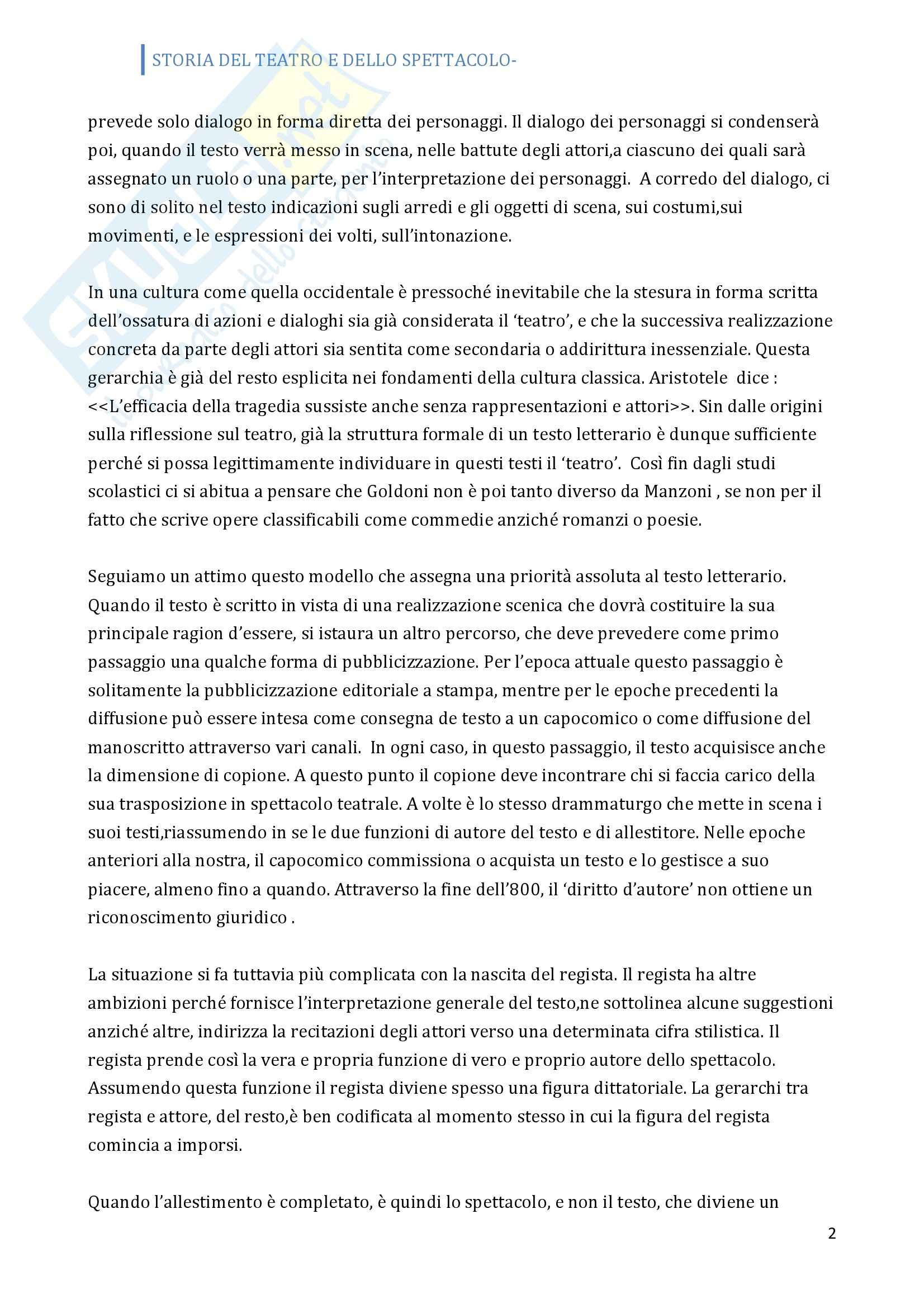 Riassunto esame Storia del teatro, prof. Allegri, libro consigliato Prima lezione sul teatro Pag. 2