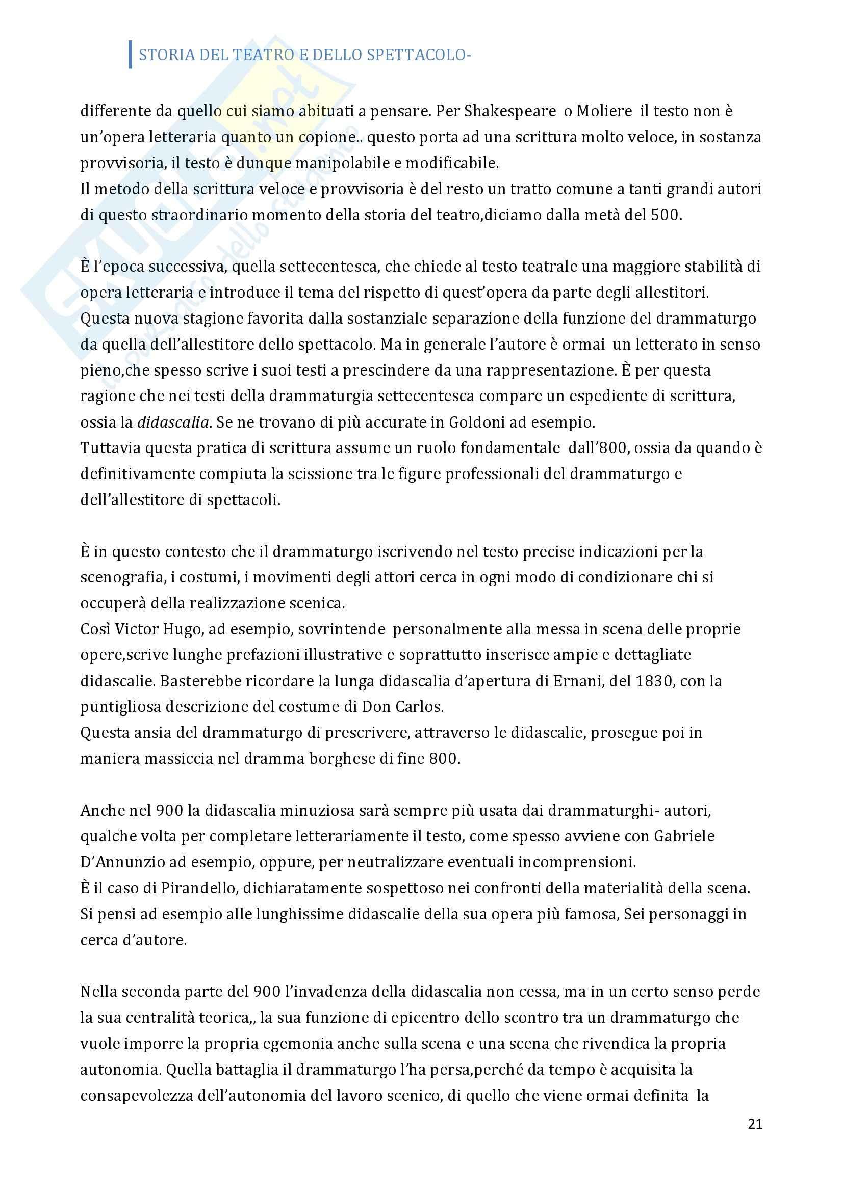 Riassunto esame Storia del teatro, prof. Allegri, libro consigliato Prima lezione sul teatro Pag. 21