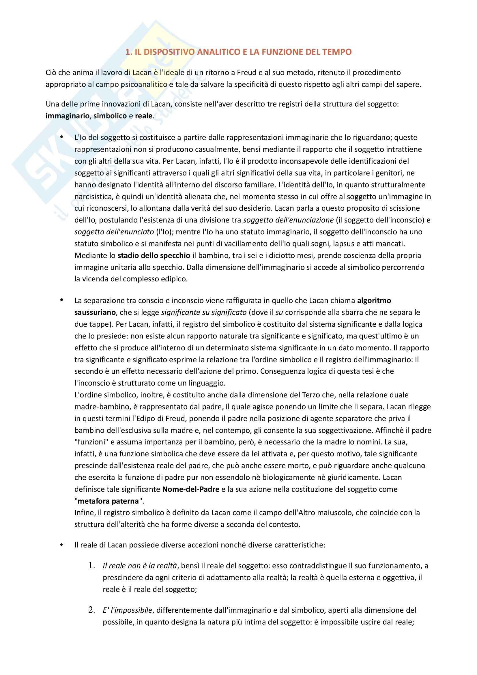 Riassunto esame Psicologia clinica, prof. Lo Castro, libro consigliato Jacques Lacan e il problema della tecnica in psicanalisi, Cosenza