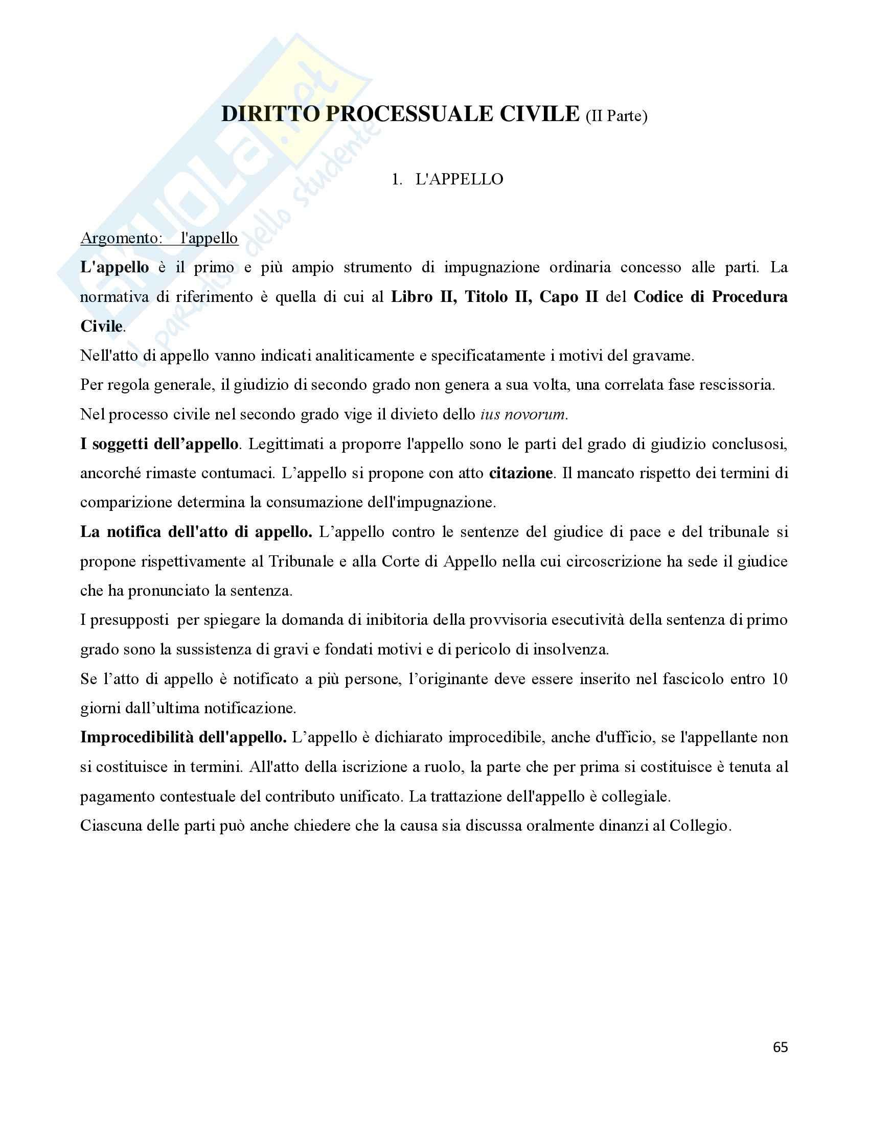 Diritto Precessuale civile - Appunti seconda parte