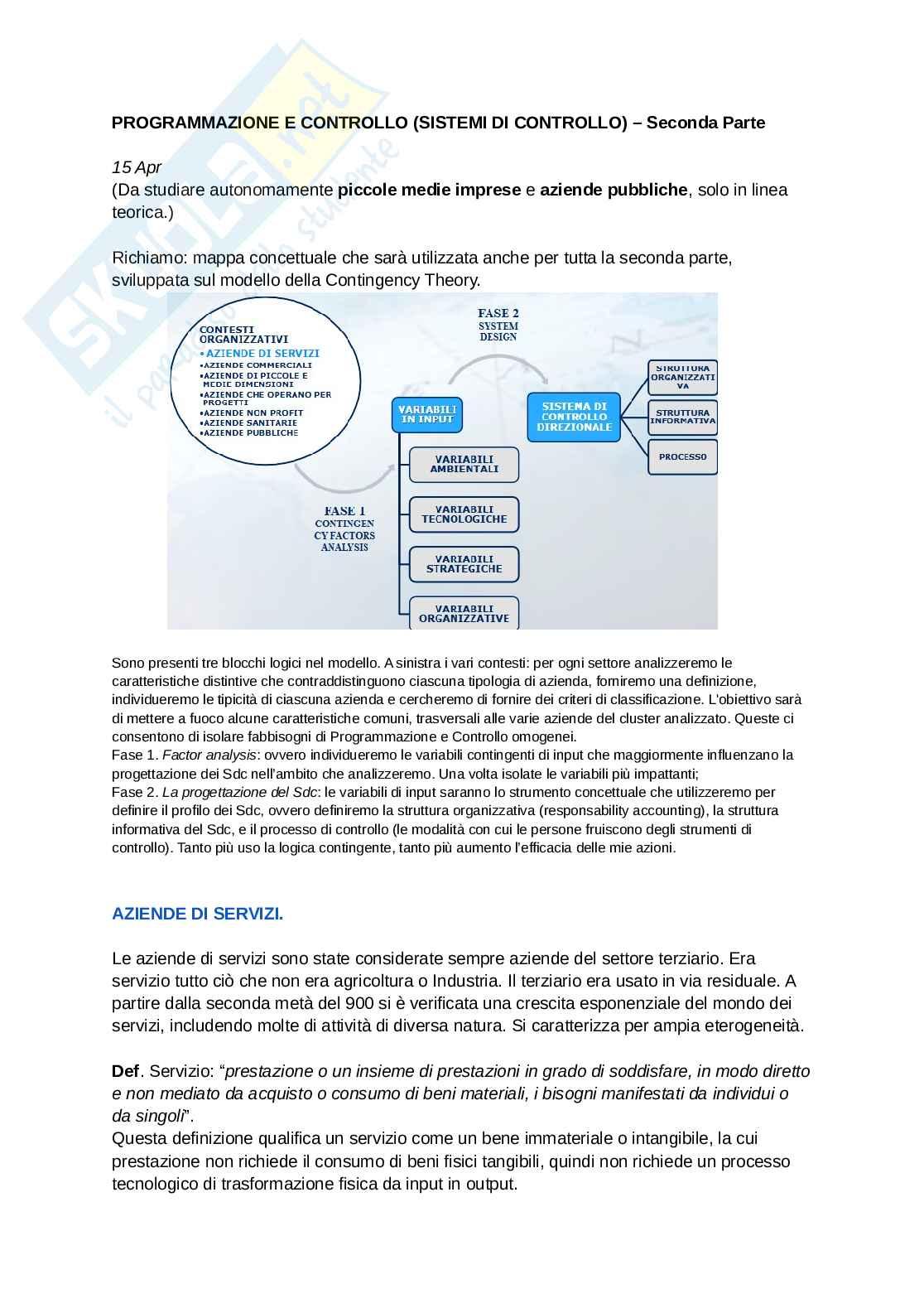 Programmazione e controllo (Sistemi di Controllo) - Parte II