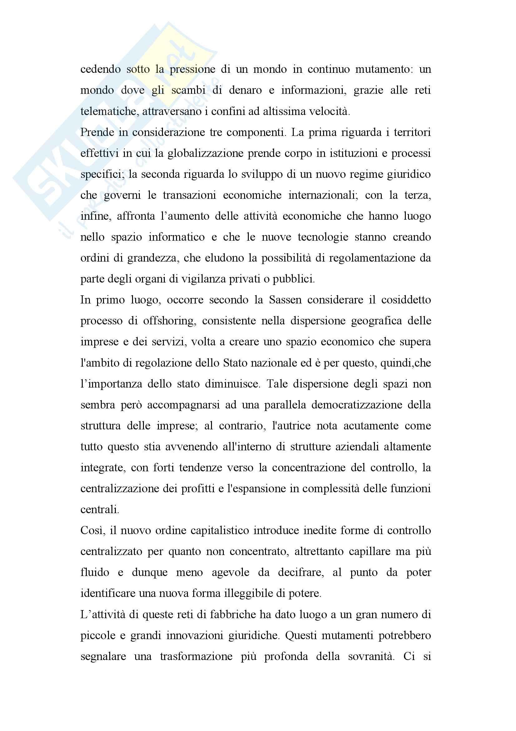 Riassunto esame Geografia Economico-politica, prof. Governa, libro consigliato Fuori Controllo, Sassen Pag. 2