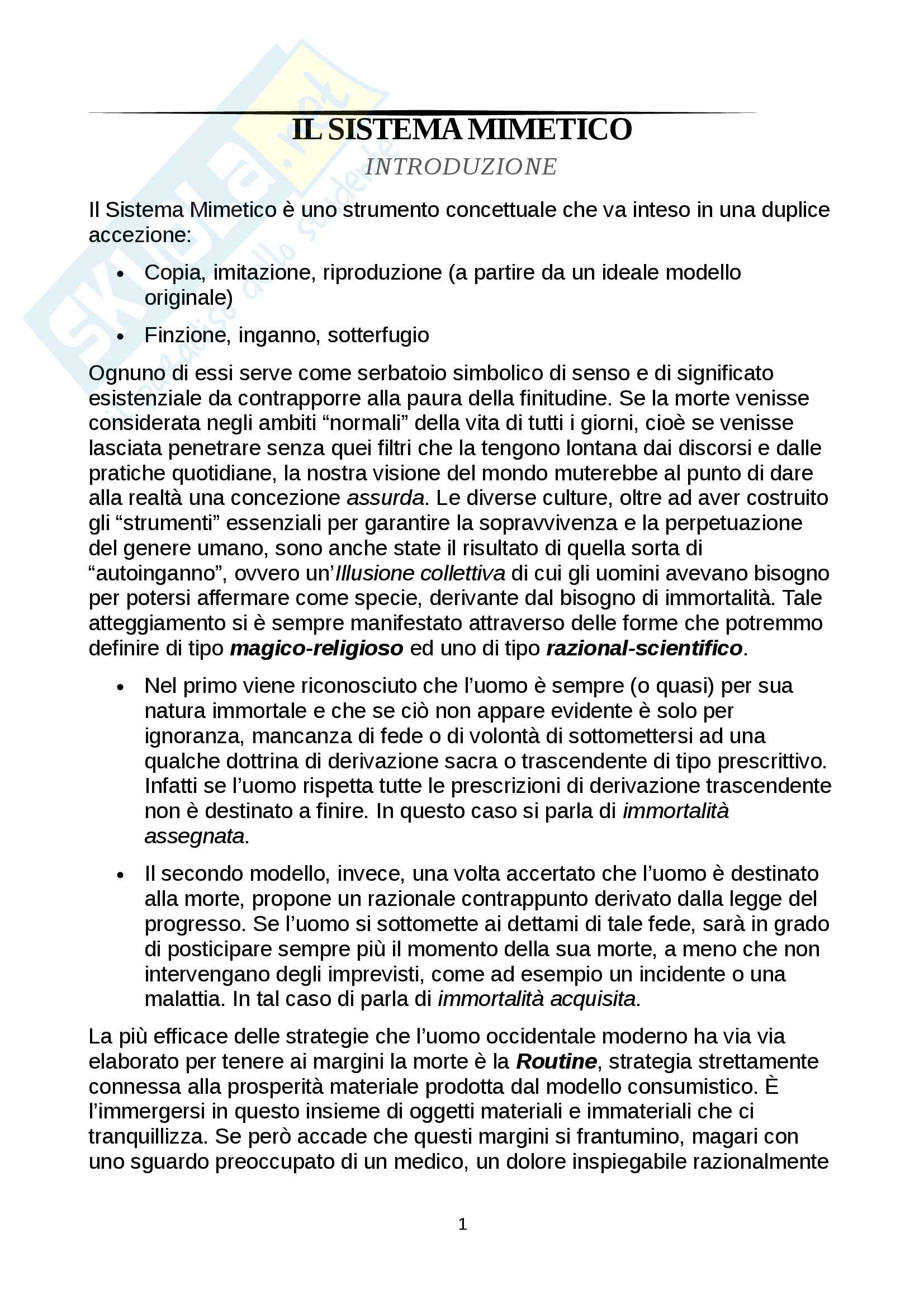 Riassunto esame Comunicazione e processi culturali, prof. Pecchinenda Gianfranco, libro consigliato Il Sistema Mimetico, Gianfranco Pecchinenda