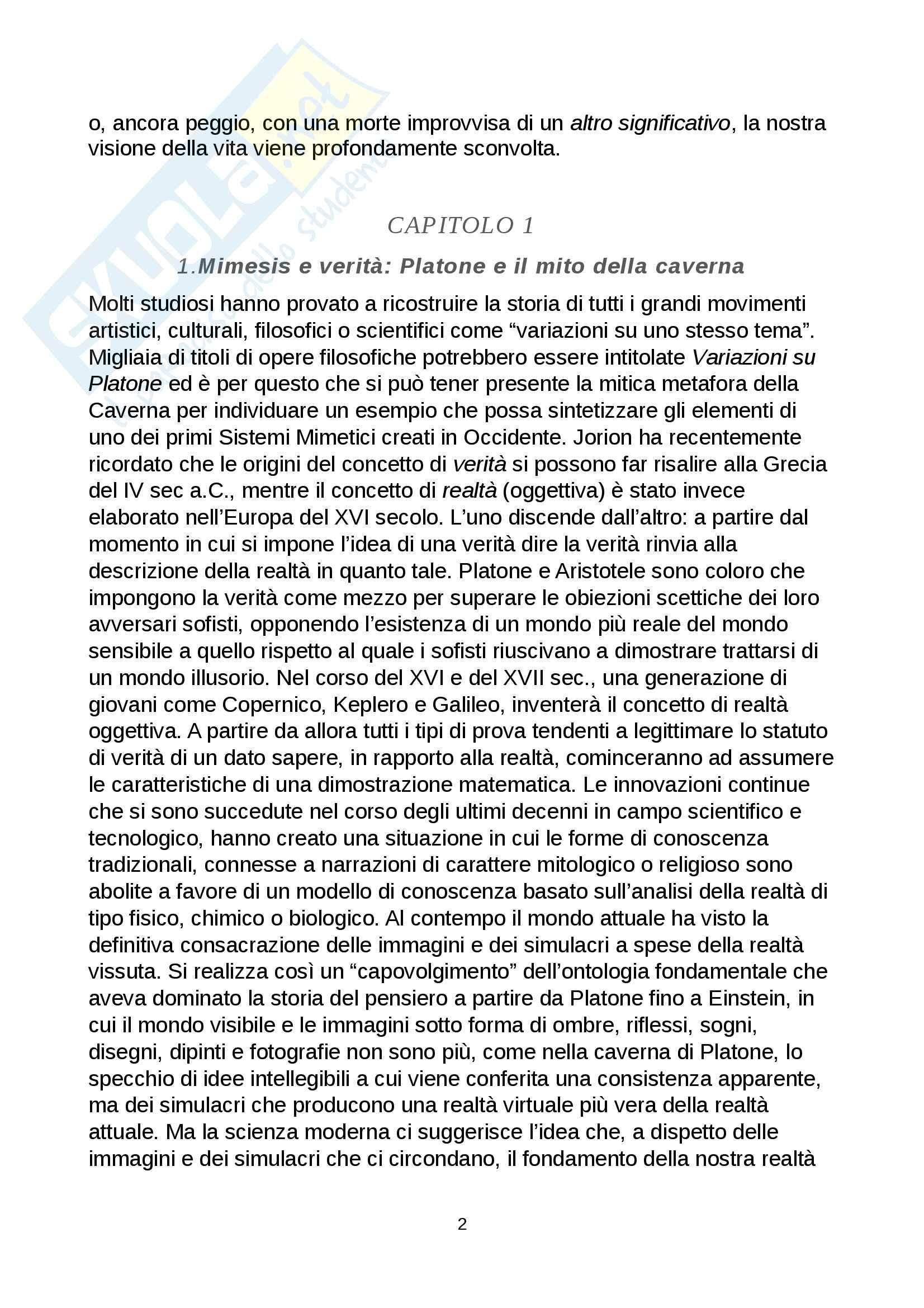 Riassunto esame Comunicazione e processi culturali, prof. Pecchinenda Gianfranco, libro consigliato Il Sistema Mimetico, Gianfranco Pecchinenda Pag. 2