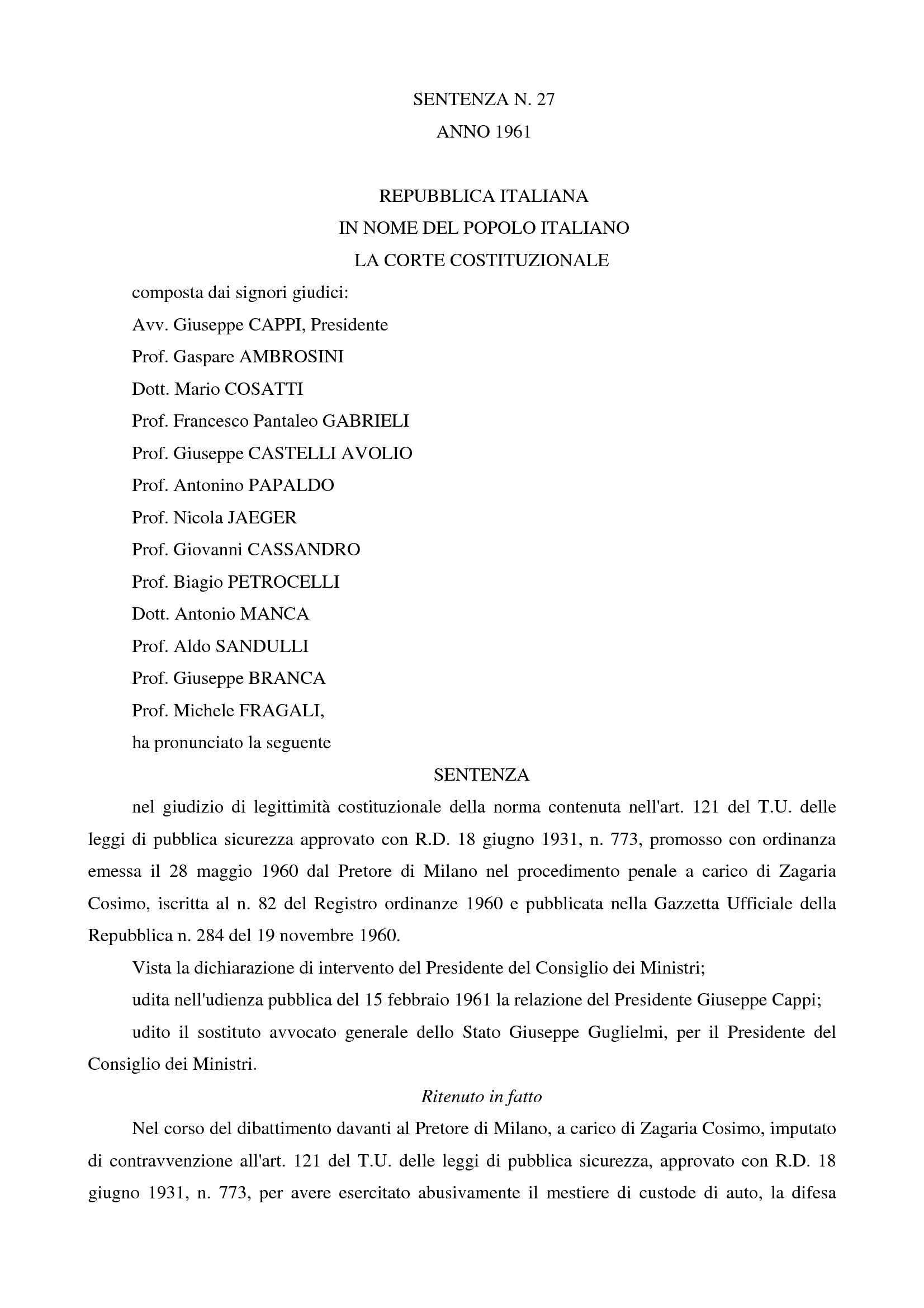 Nullum crimen sine lege - C. Cost. n. 27/61