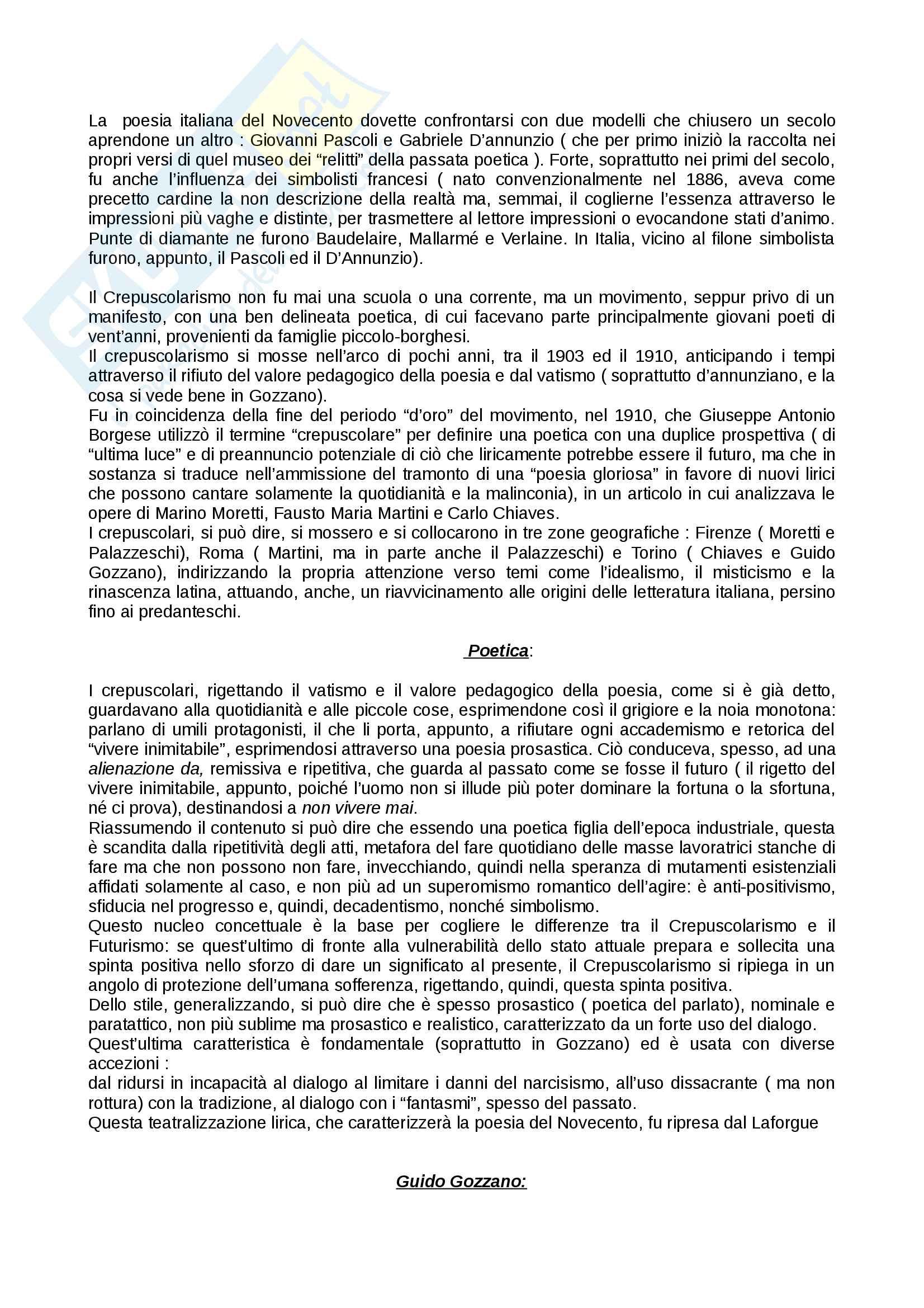 Crepuscolarismo e Guido Gozzano