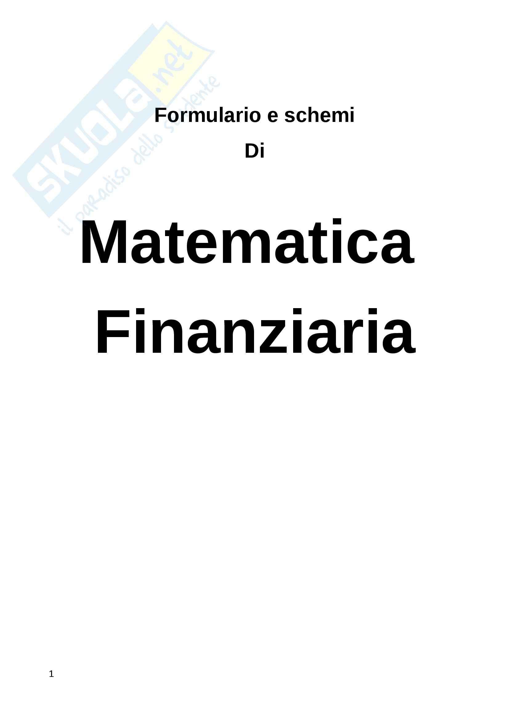 Lezioni e formulario, Matematica finanziaria