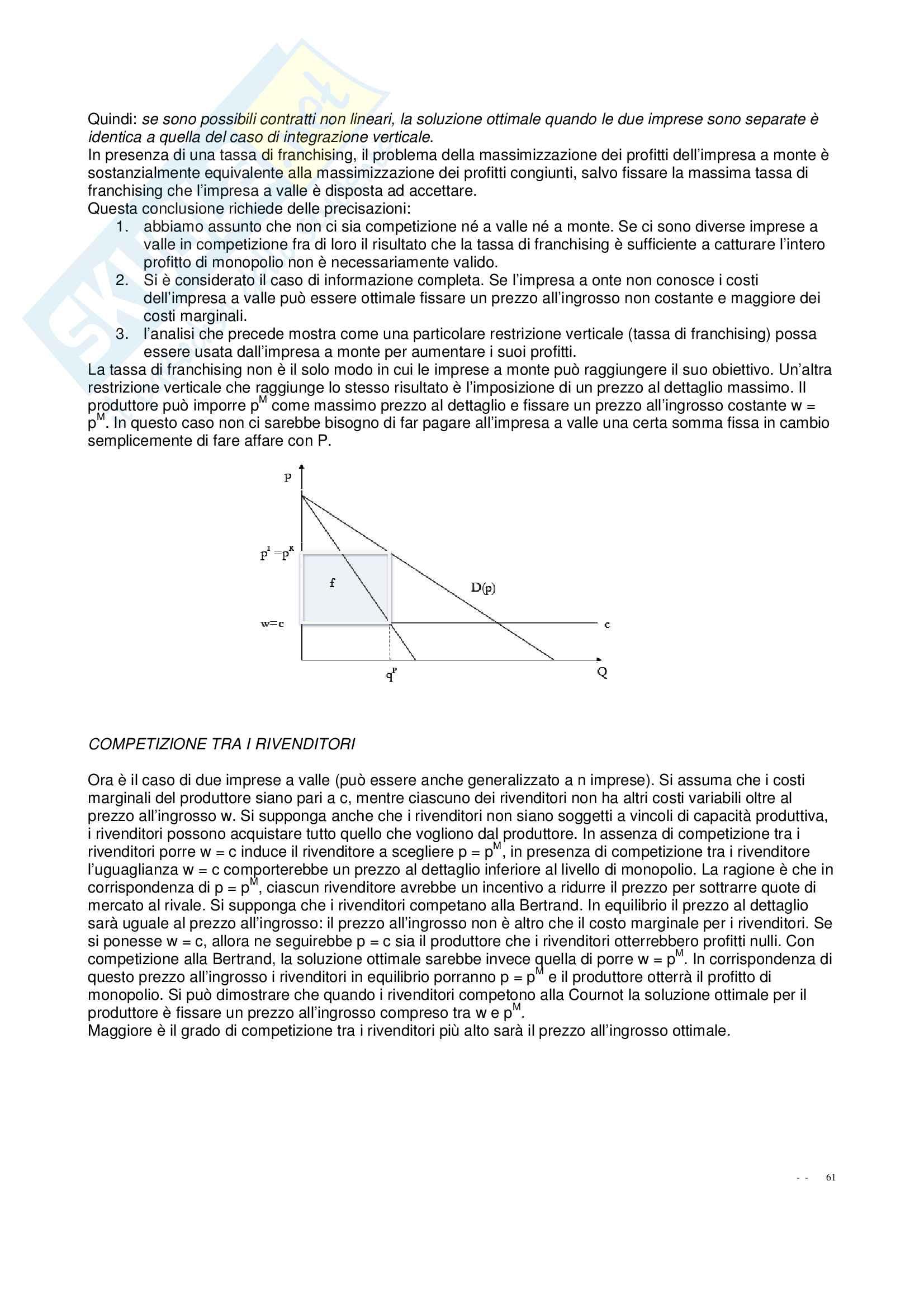 """Riassunto esame Economia Industriale, docente Qualsiasi, libro consigliato """"Economia Industriale"""", di Bernardo Pag. 61"""