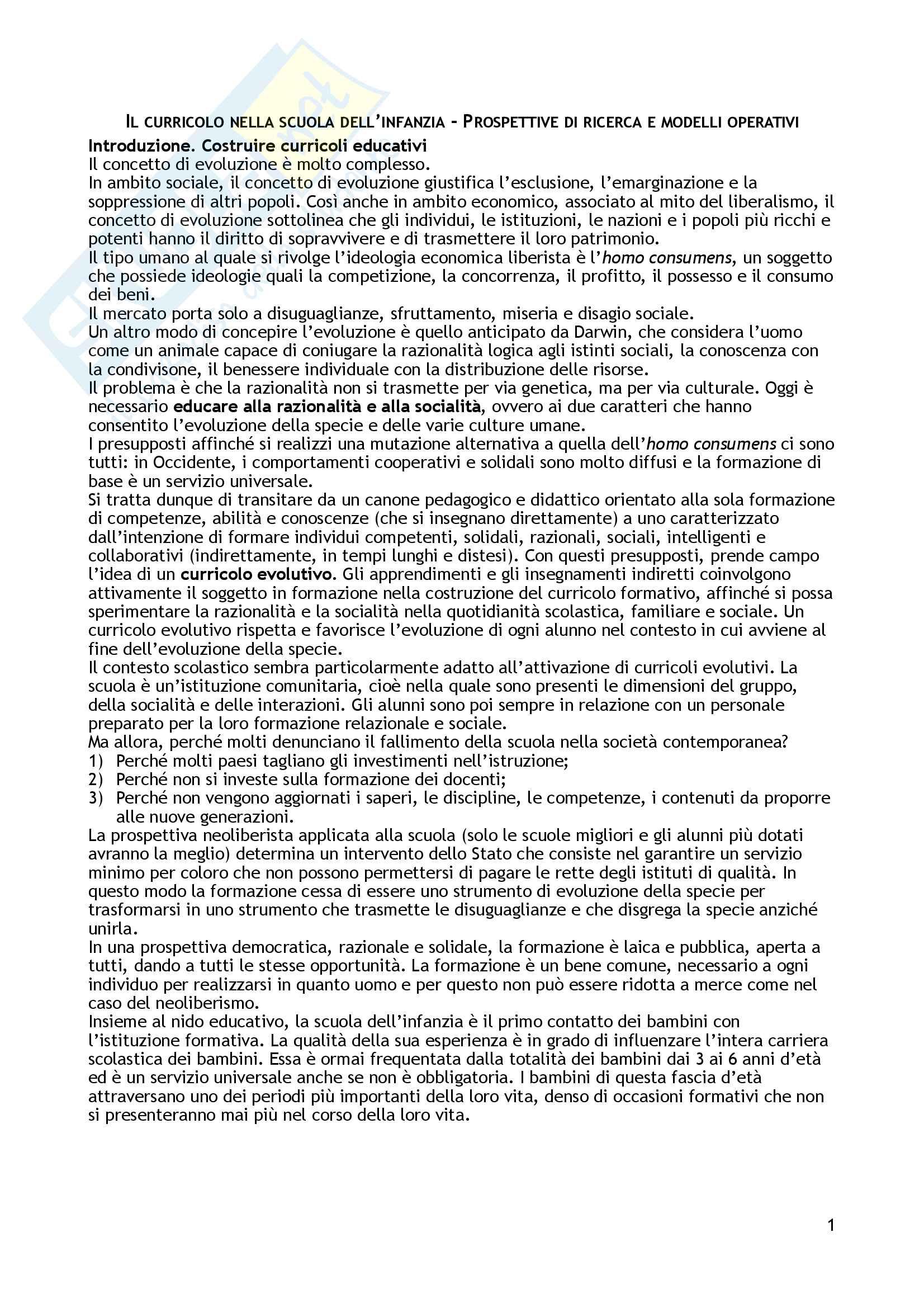 """Riassunto esame Didattica generale, prof. Giuliano Franceschini, libro consigliato """"Il curricolo nella scuola dell'infanzia. Prospettive di ricerca e modelli operativi"""", di Franceschini Giuliano, Borin Paolo"""