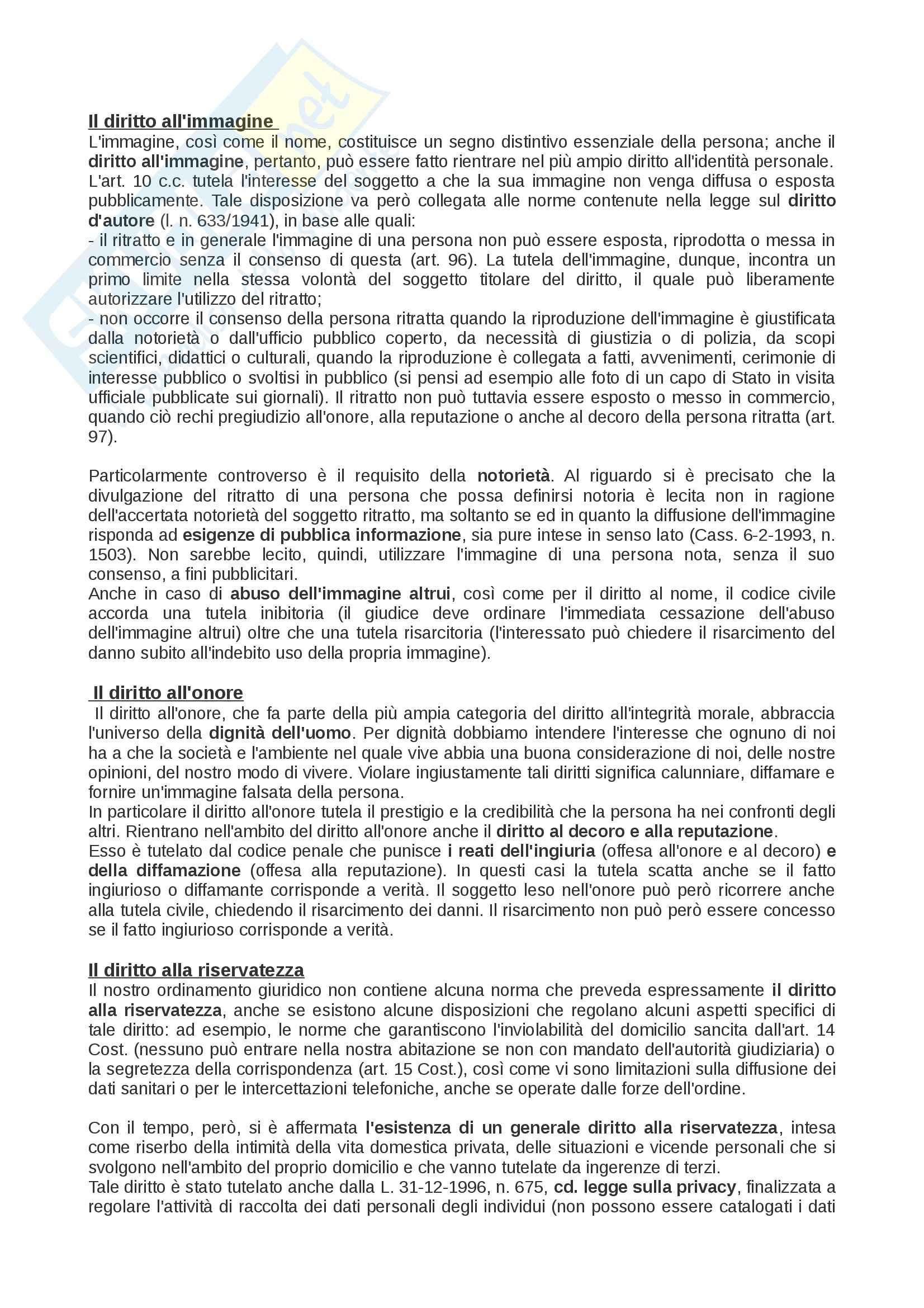 Riassunto esame Diritto privato: soggetti, beni, fatti, enti, prof. Rossi Pag. 11