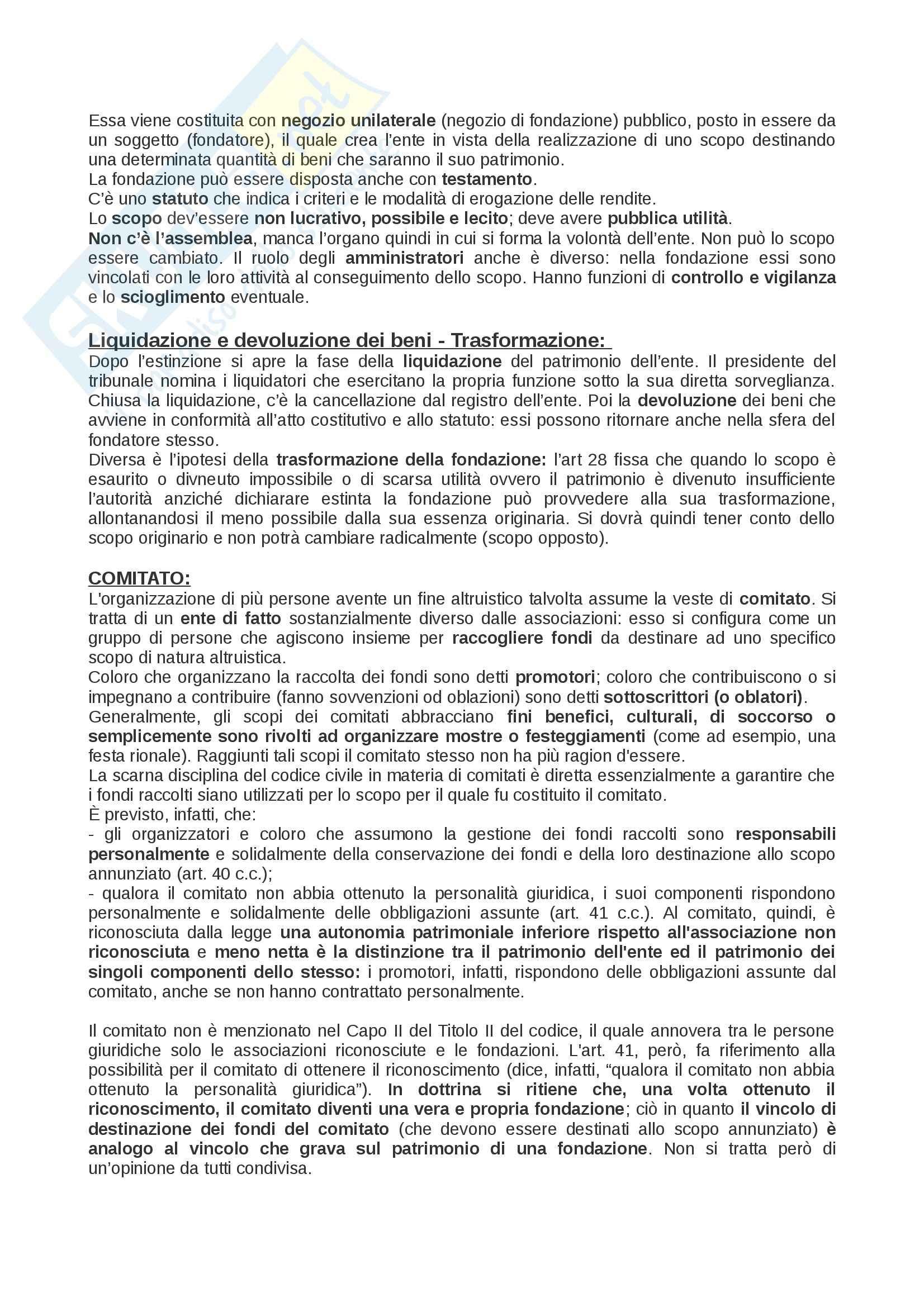 Riassunto esame Diritto privato: soggetti, beni, fatti, enti, prof. Rossi Pag. 16