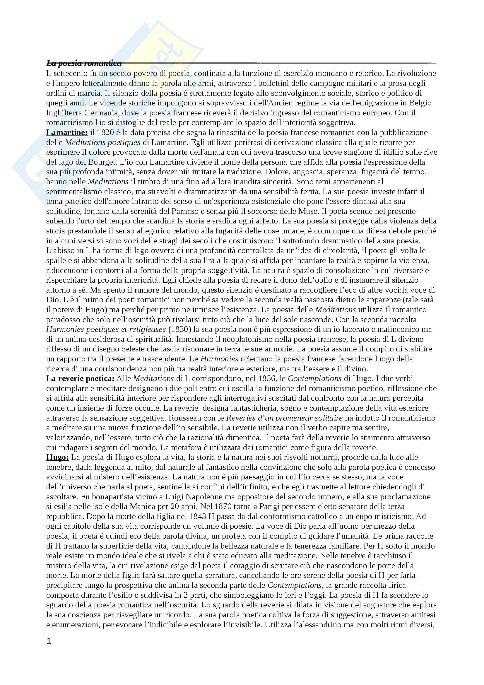 Riassunto esame Letteratura francese, prof. Bevilacqua, libro consigliato La poesia francese 1814-1914, Pietromarchi