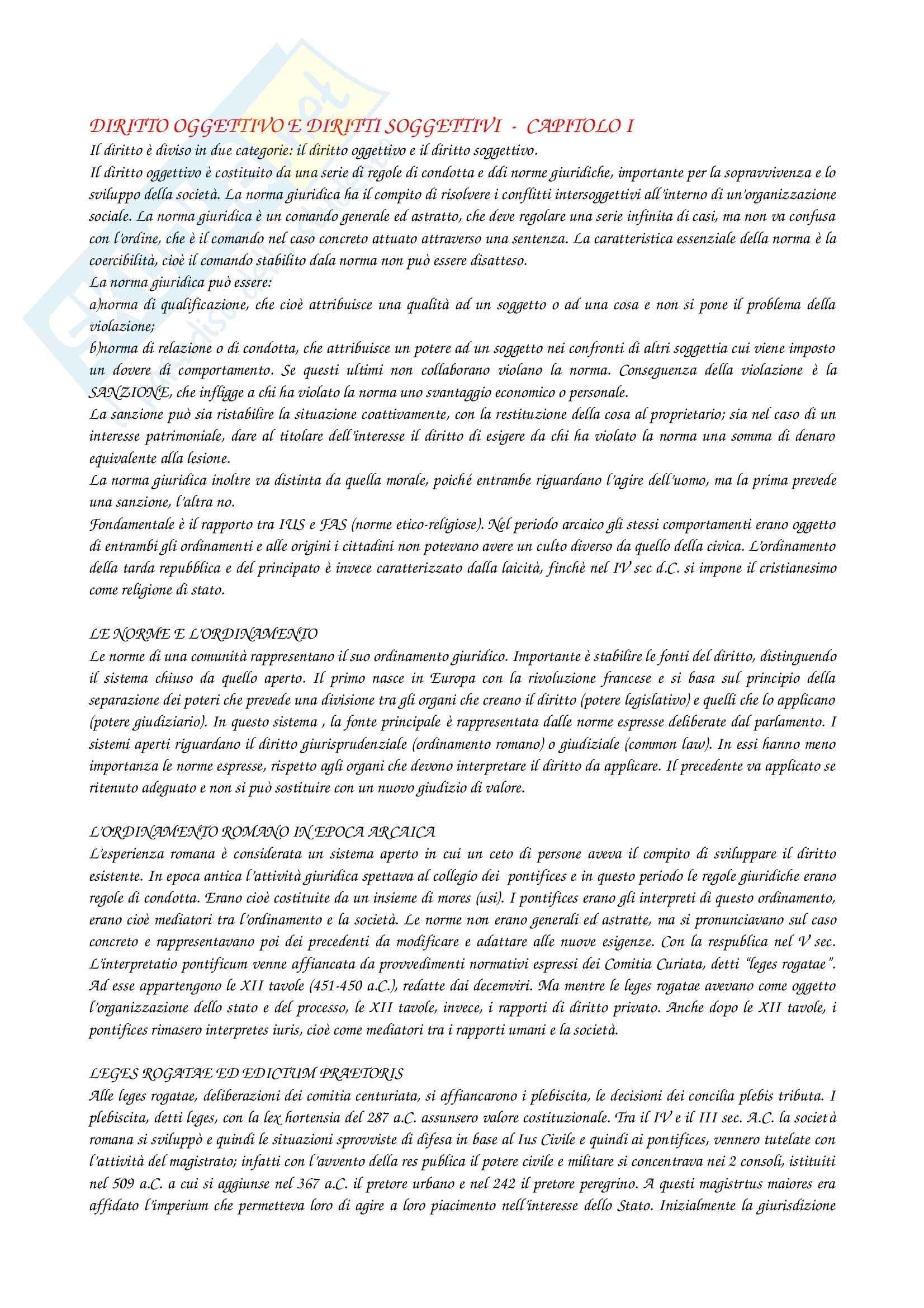 Riassunto esame Istituzioni di diritto romano, prof. D'Amati, libro consigliato Elementi di diritto privato romano di Talamanca