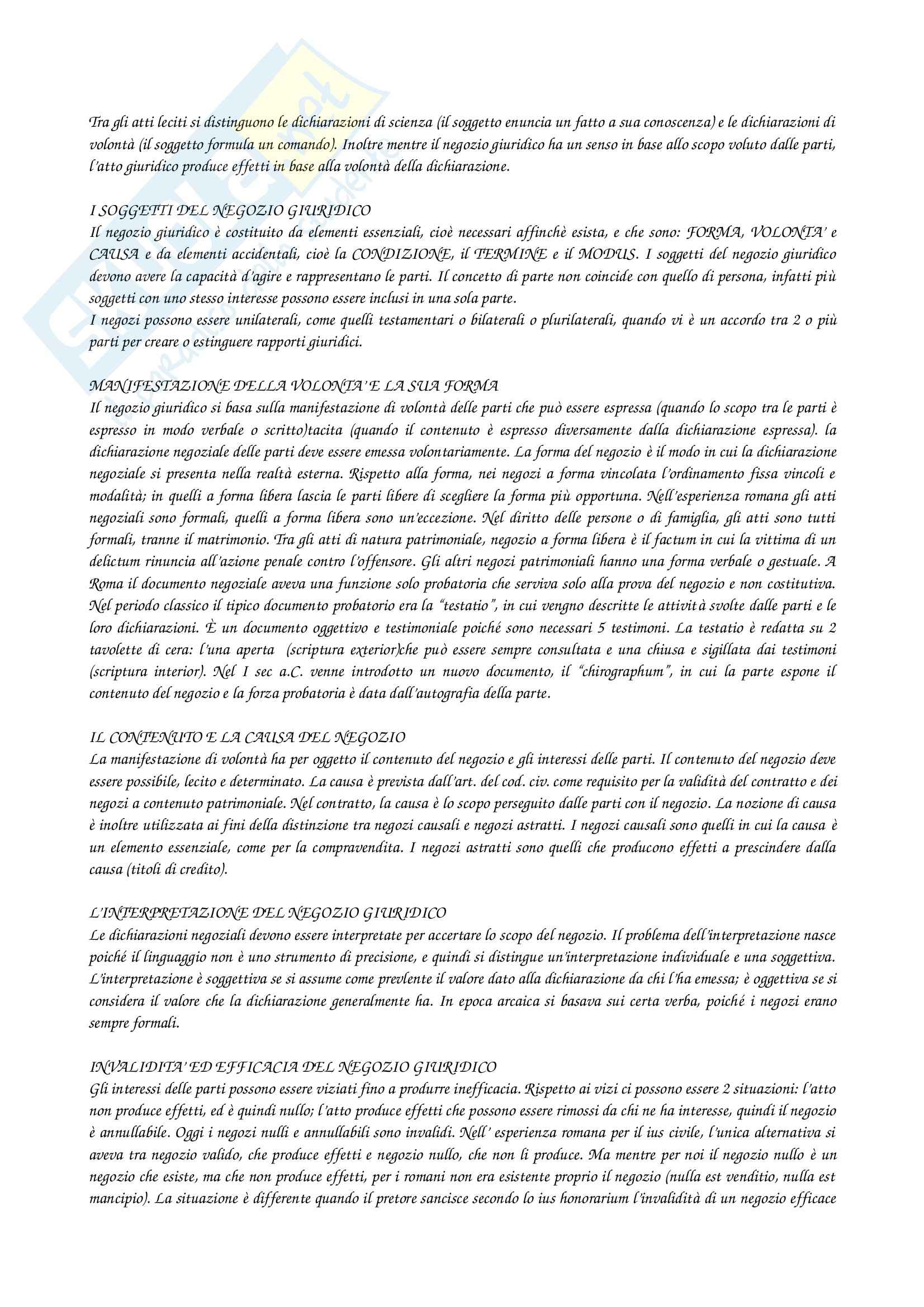 Riassunto esame Istituzioni di diritto romano, prof. D'Amati, libro consigliato Elementi di diritto privato romano di Talamanca Pag. 11