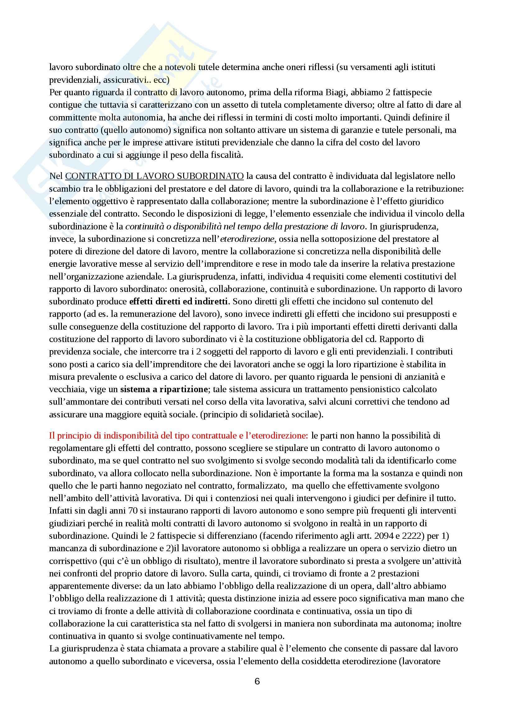 Riassunto esame Diritto del Lavoro, prof. Chieco Pag. 6