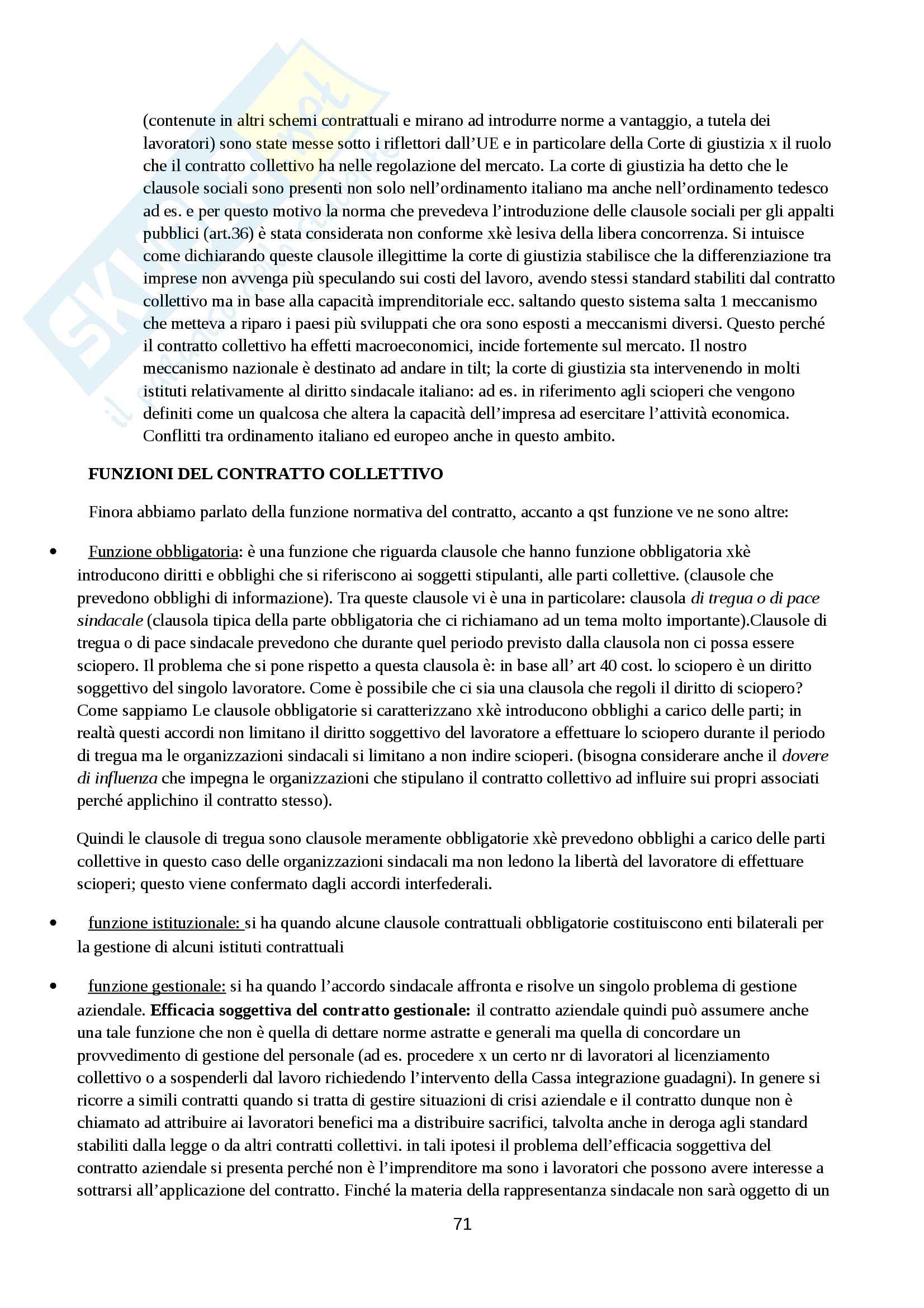 Riassunto esame Diritto del Lavoro, prof. Chieco Pag. 71