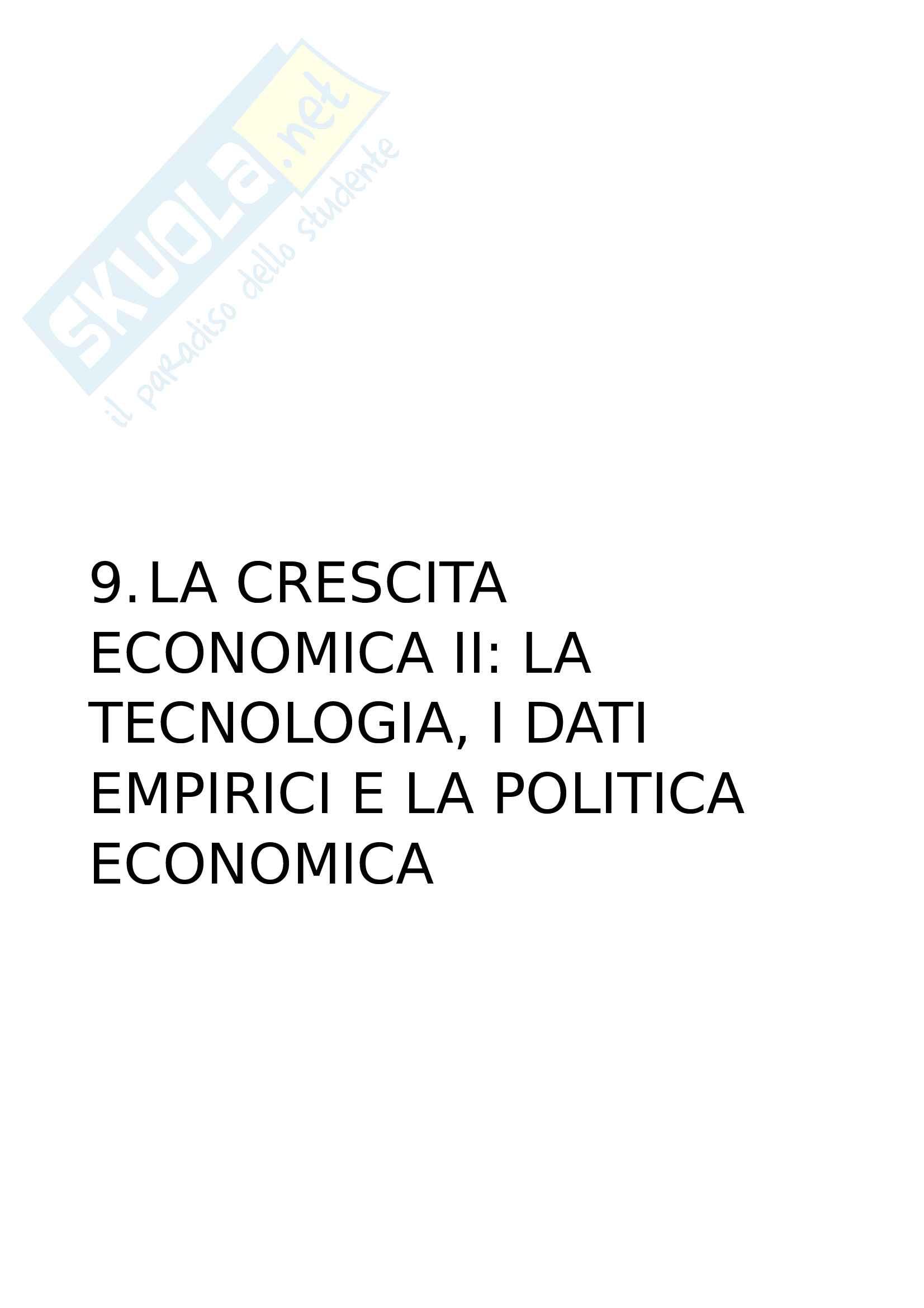 9. La crescita economica II