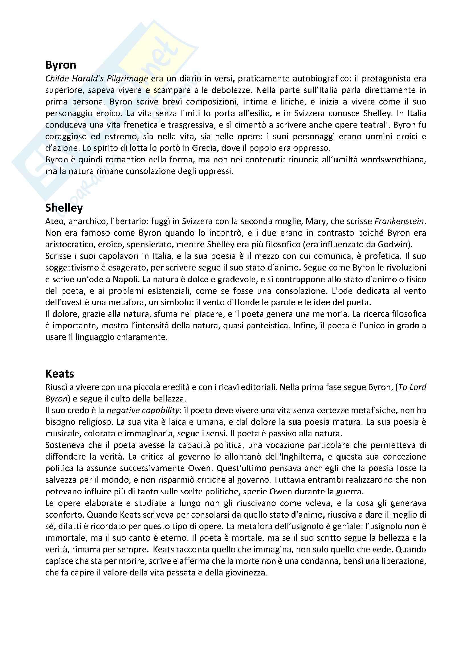 Appunti completi di letteratura inglese, riassunti e analisi delle poesie, prof Cifarelli Unige: poesia romantica vittoriana georgiana di guerra e modernista Pag. 21