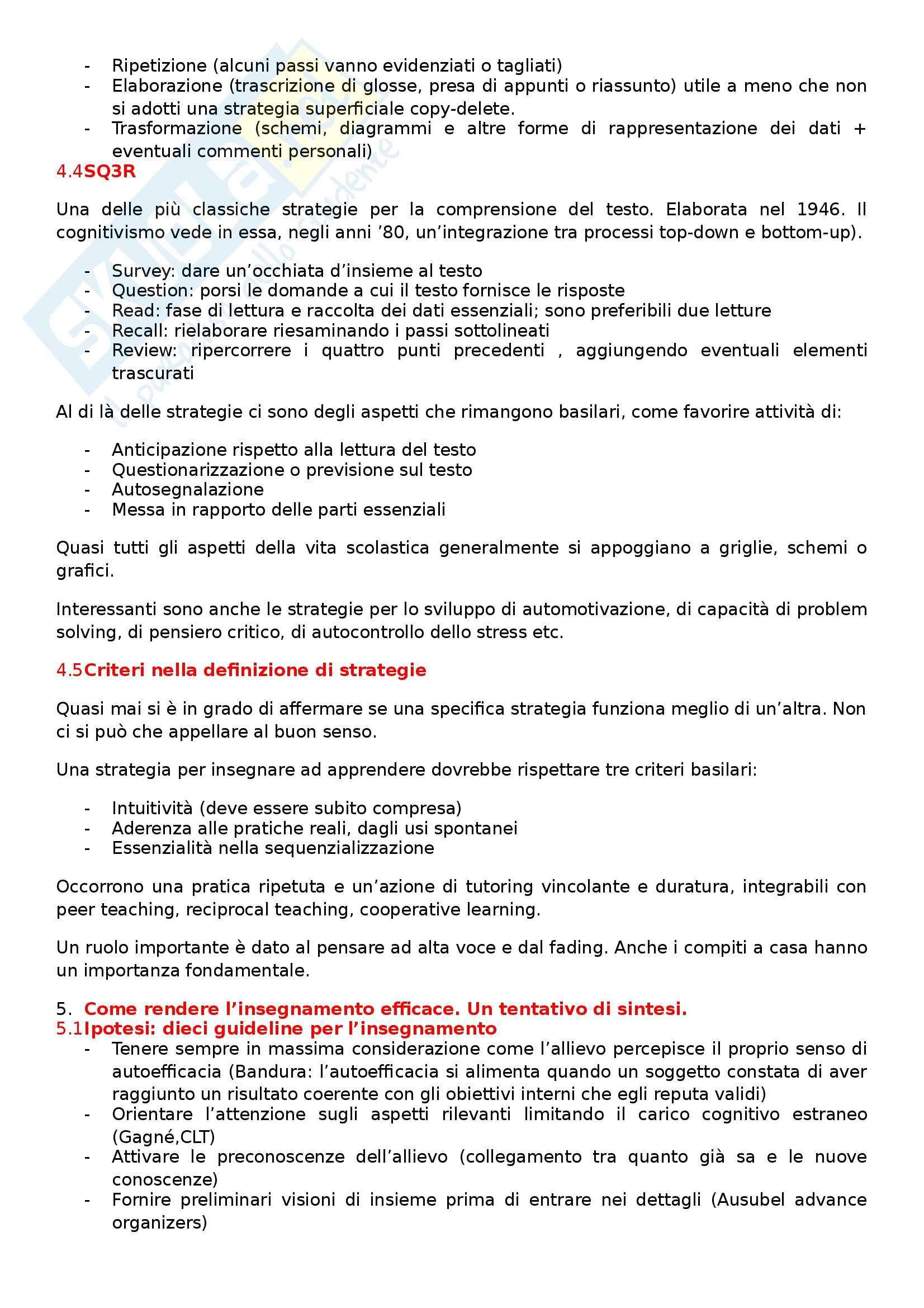 Riassunto esame Didattica generale, prof. Calvani, libro consigliato Principi dell'istruzione e strategie per insegnare Pag. 11