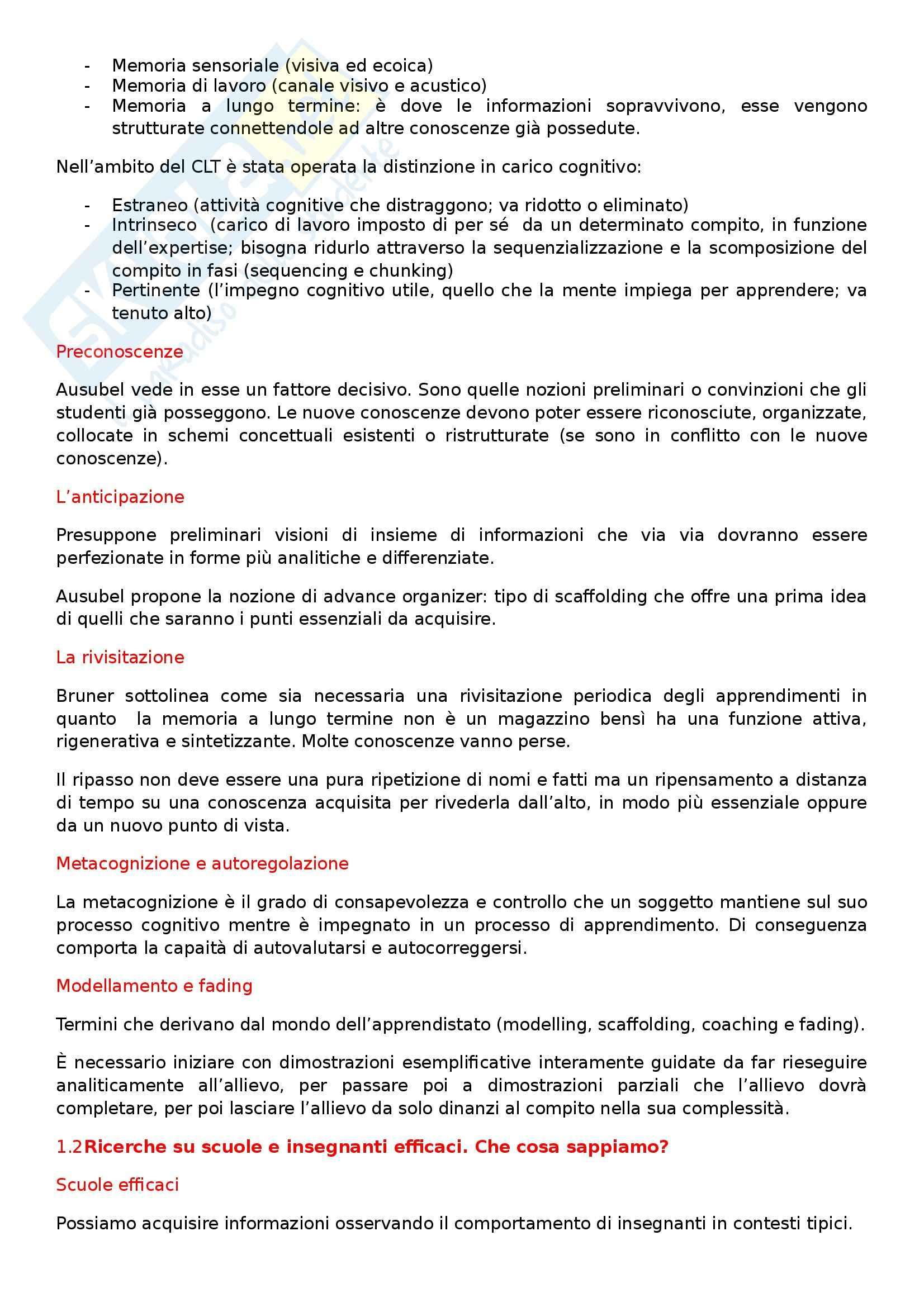 Riassunto esame Didattica generale, prof. Calvani, libro consigliato Principi dell'istruzione e strategie per insegnare Pag. 2