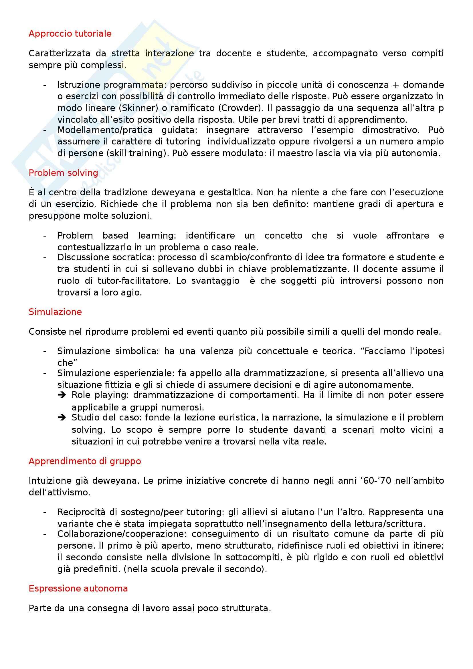 Riassunto esame Didattica generale, prof. Calvani, libro consigliato Principi dell'istruzione e strategie per insegnare Pag. 6