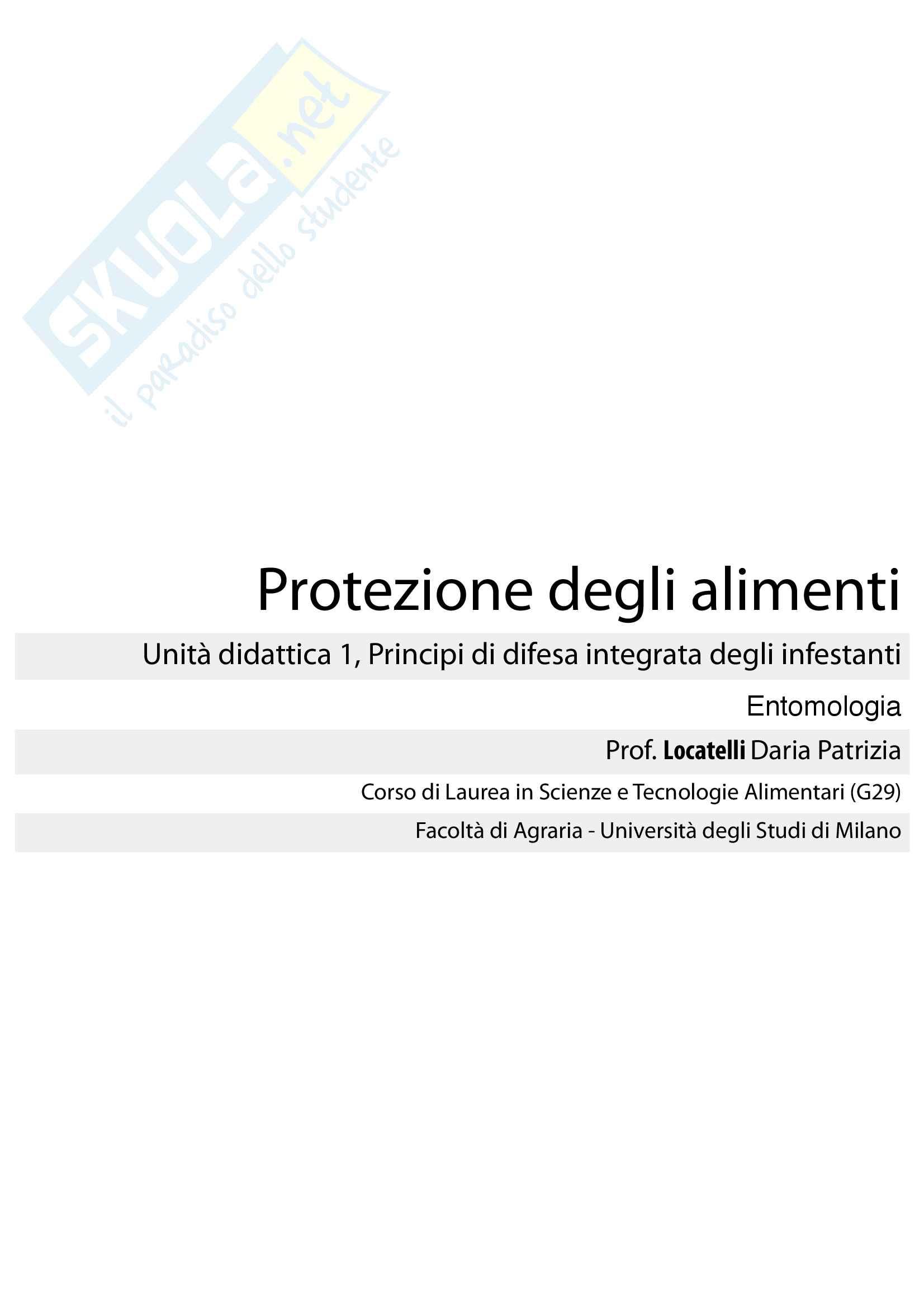 Entomologia, Protezione degli alimenti (Unità did. 1)
