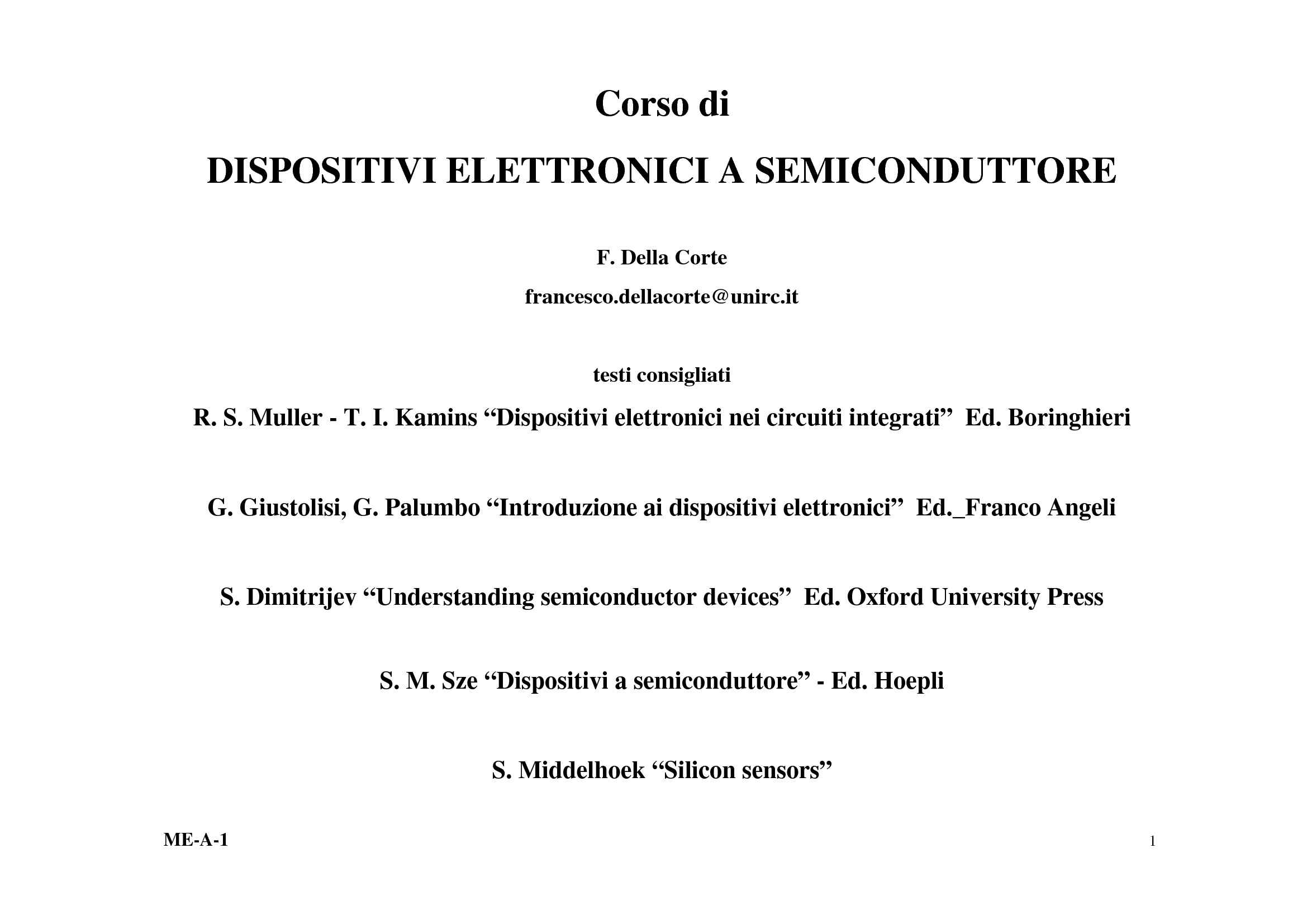 Dispositivi elettronici a semiconduttore