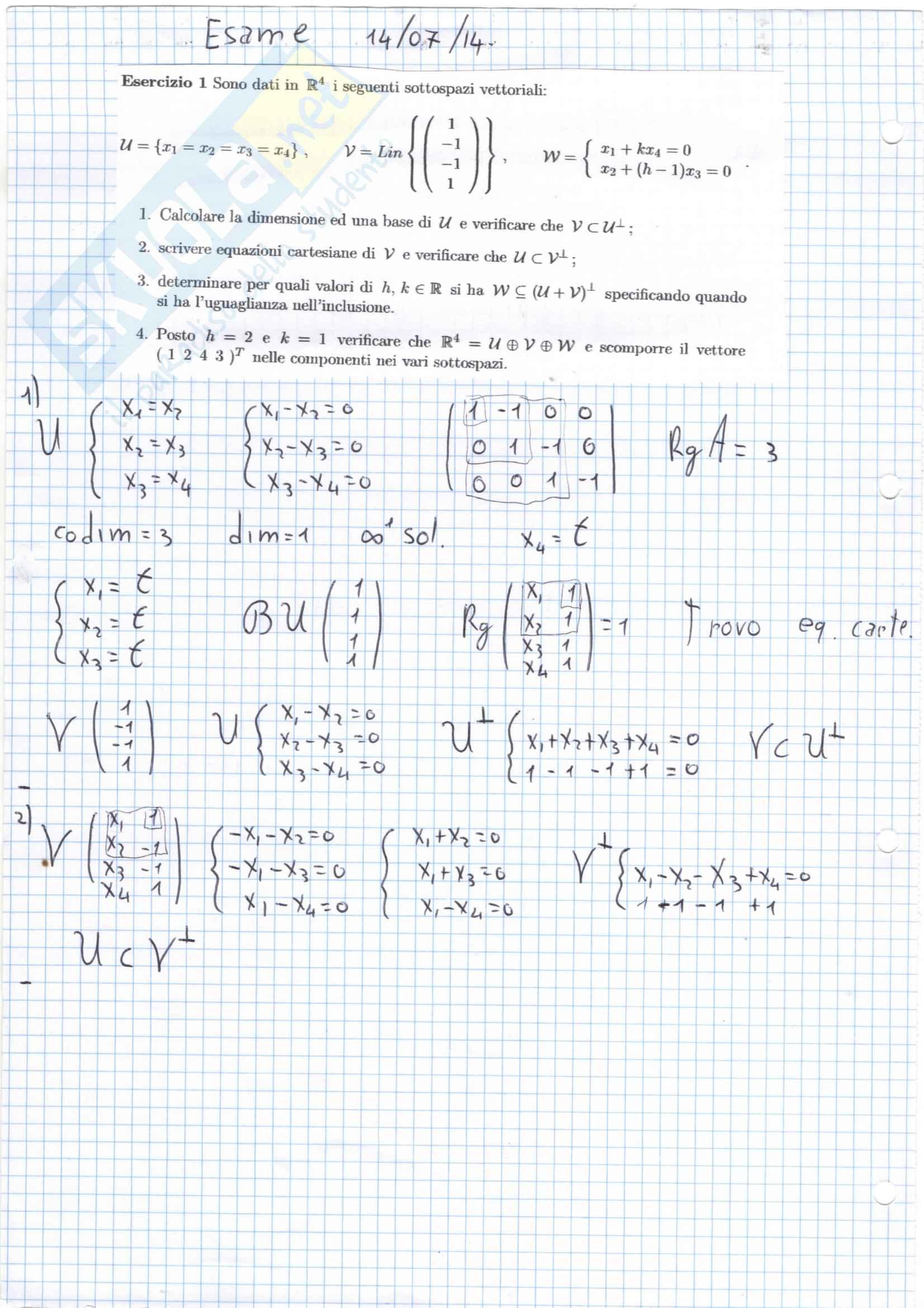 esercitazione L. Sabatini Geometria analitica e algebra lineare